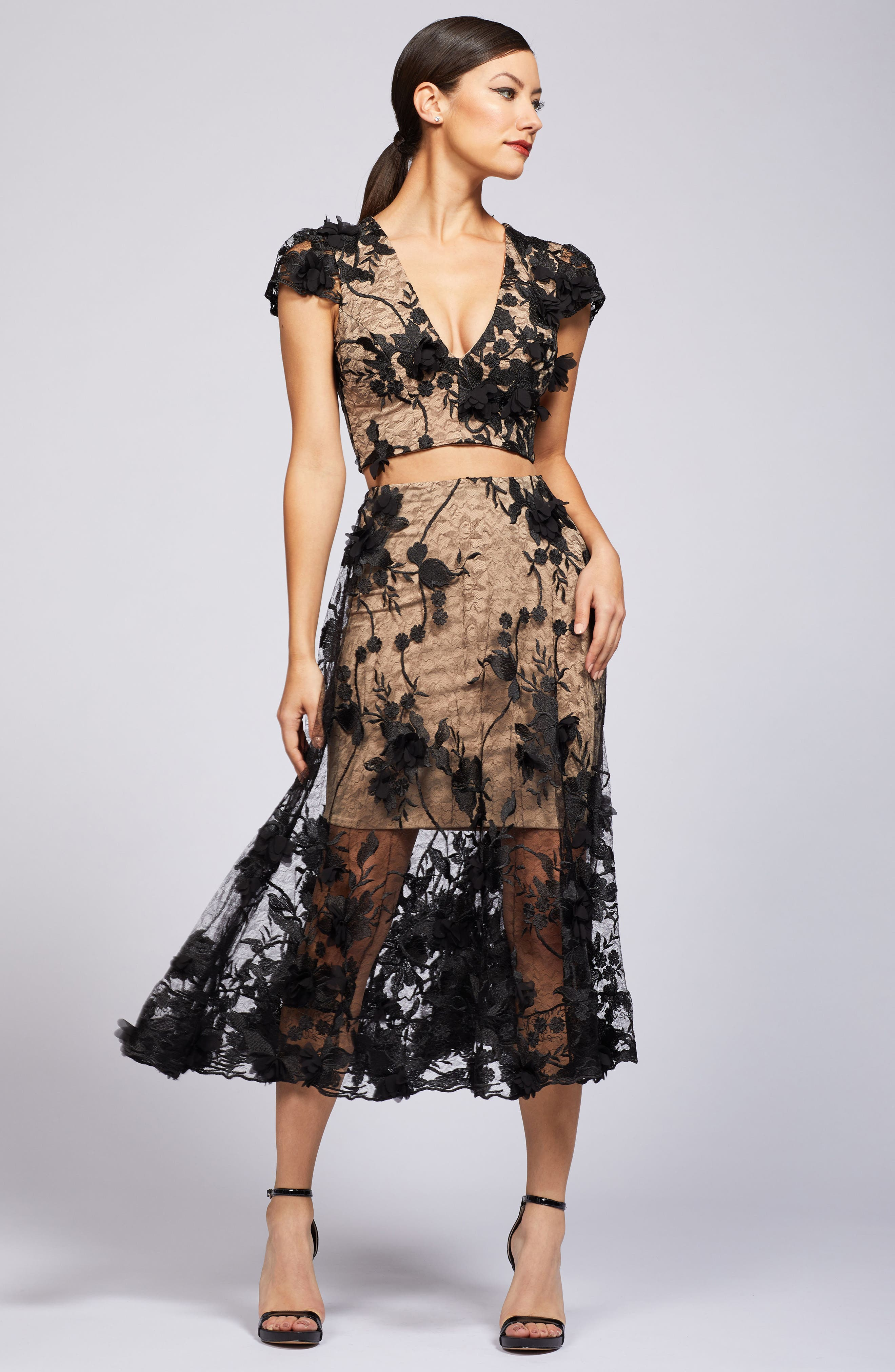 Juliana 3D Lace Two-Piece Dress,                             Alternate thumbnail 5, color,                             014