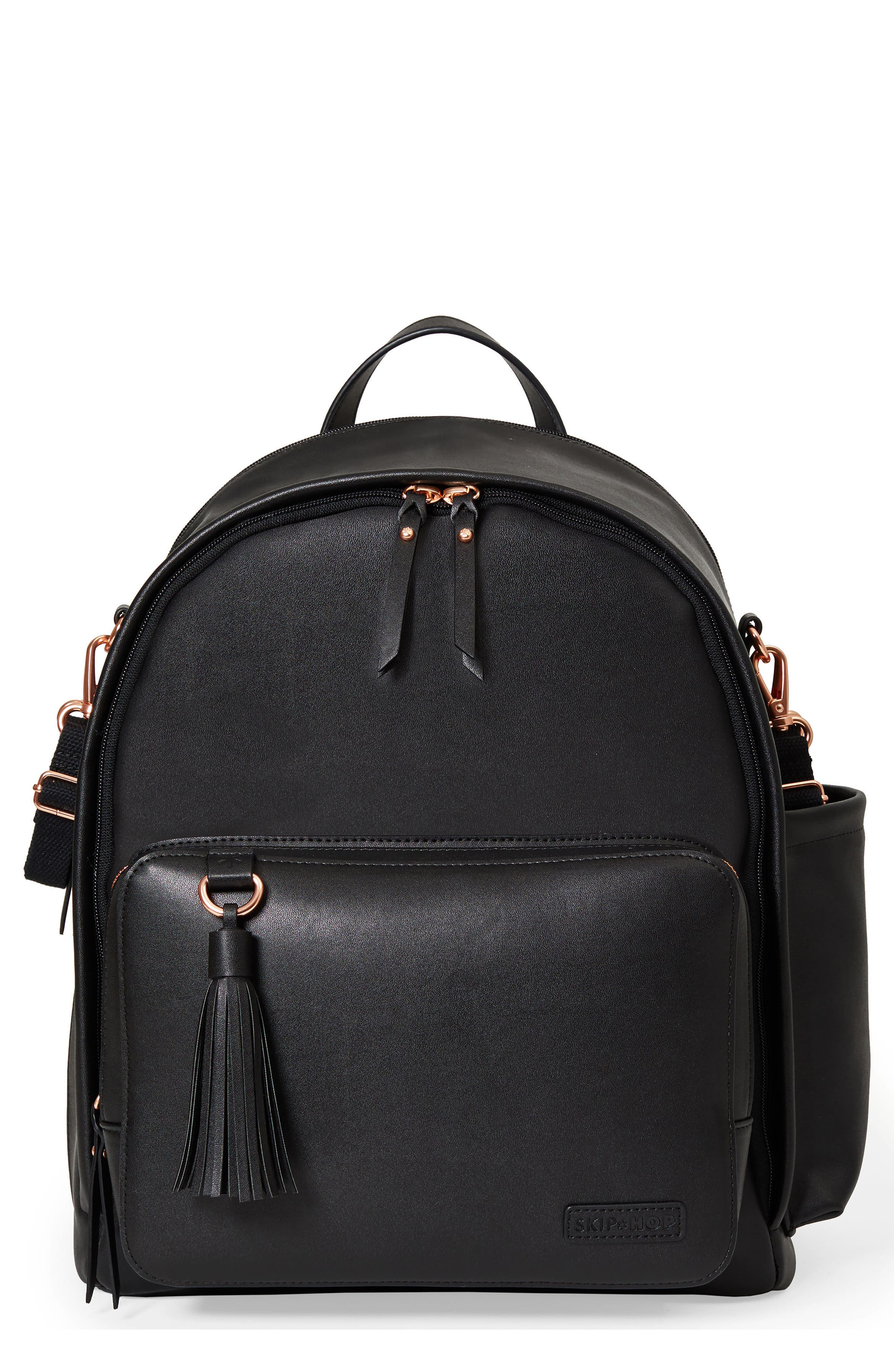 Greenwich Simply Chic Diaper Backpack, Main, color, BLACK
