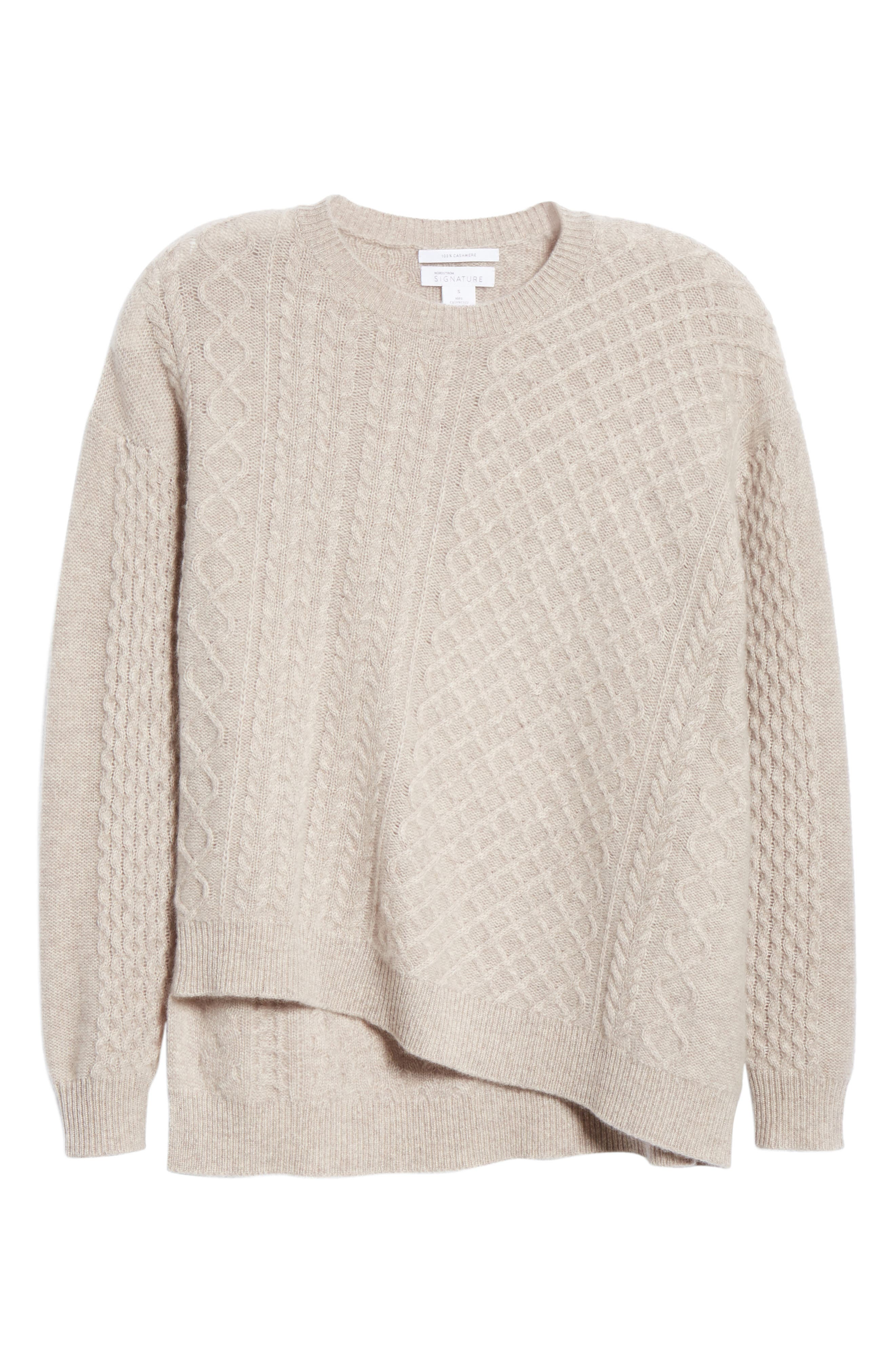 Cable Mix Asymmetrical Cashmere Sweater,                             Alternate thumbnail 6, color,                             BEIGE STRING HEATHER