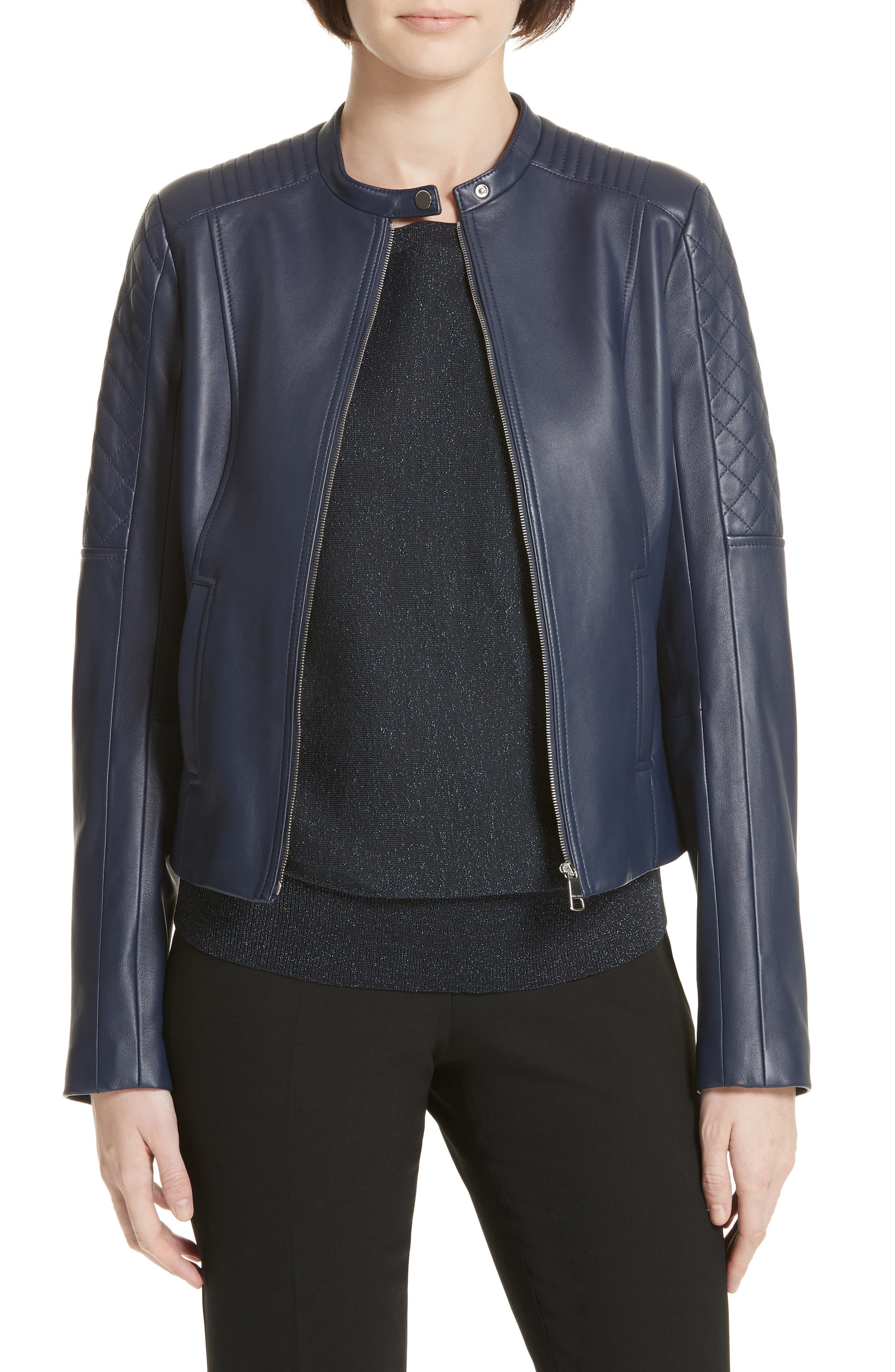 Sadeno Leather Moto Jacket,                             Main thumbnail 1, color,                             INK BLUE