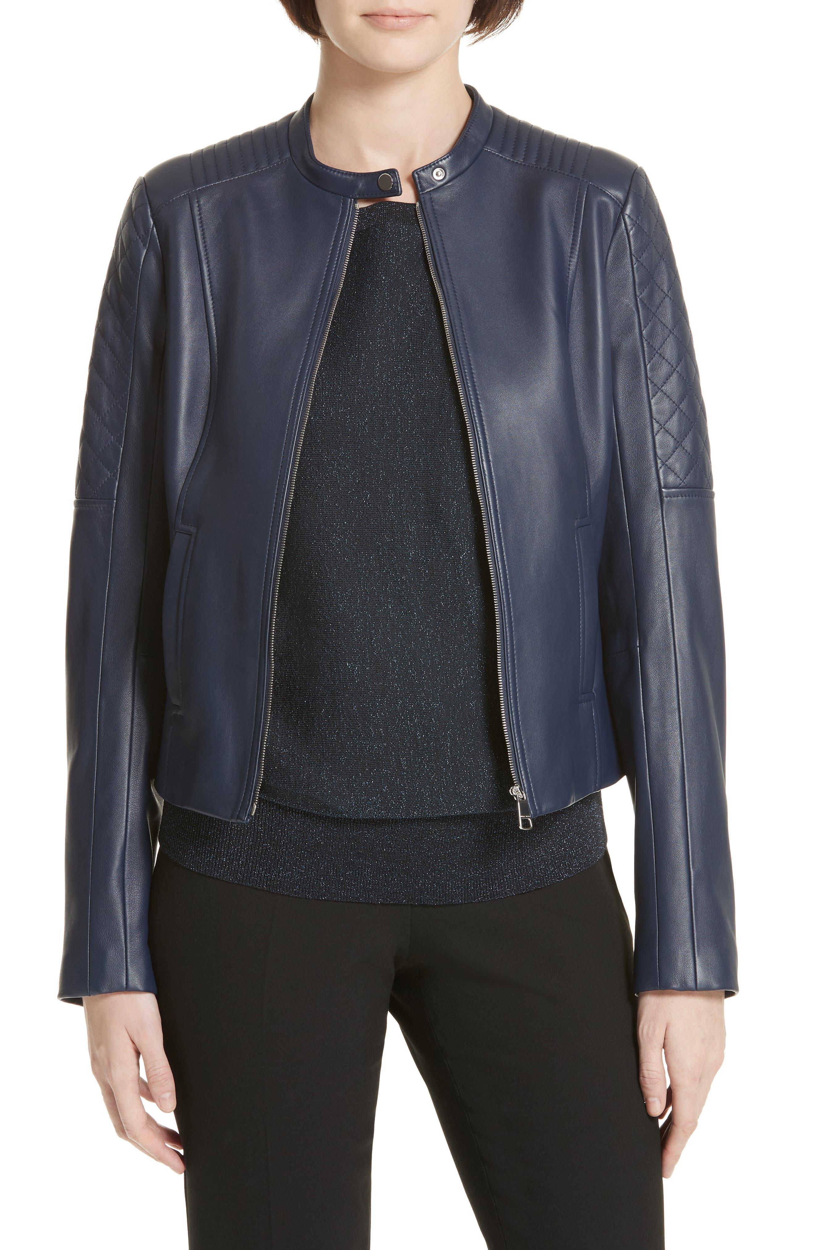 Sadeno Leather Moto Jacket, Main, color, INK BLUE
