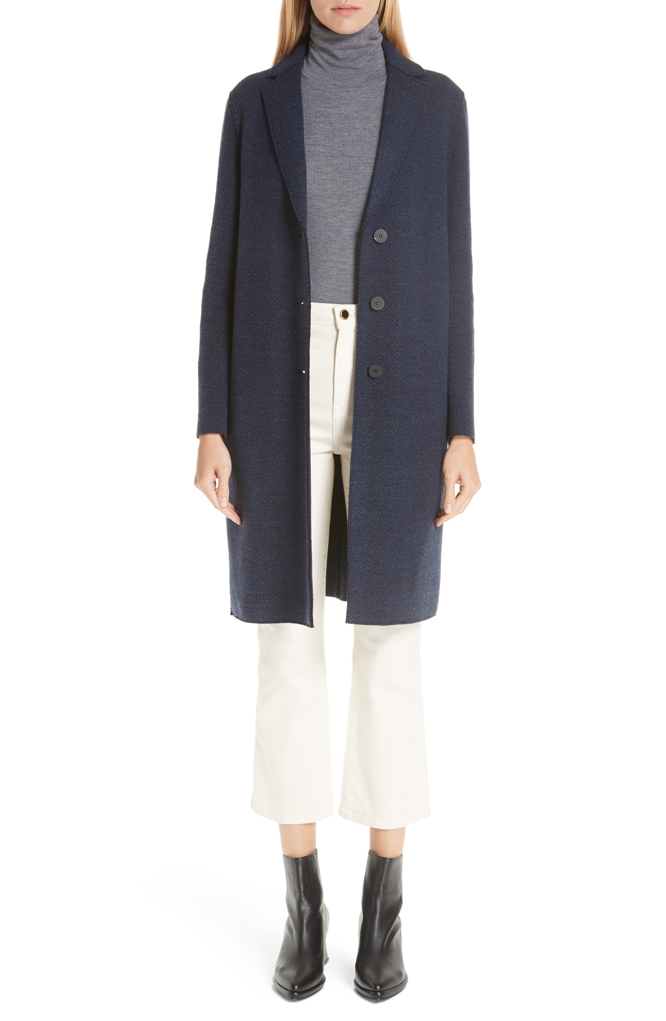 Herringbone Wool Coat,                         Main,                         color, NAVY BLUE