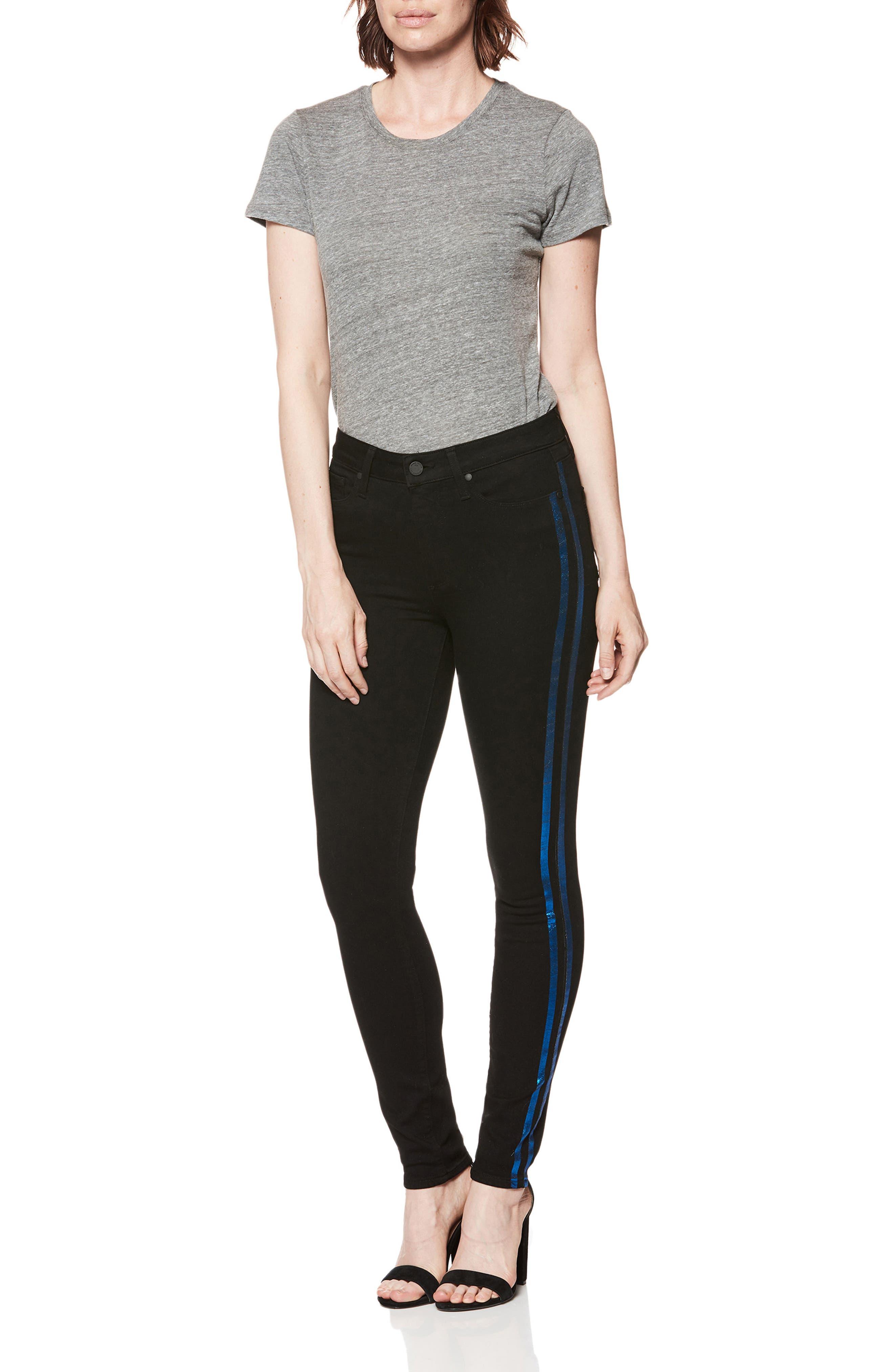 Transcend - Hoxton High Waist Ultra Skinny Jeans,                             Alternate thumbnail 3, color,                             BLACK SHADOW W/ BLUE