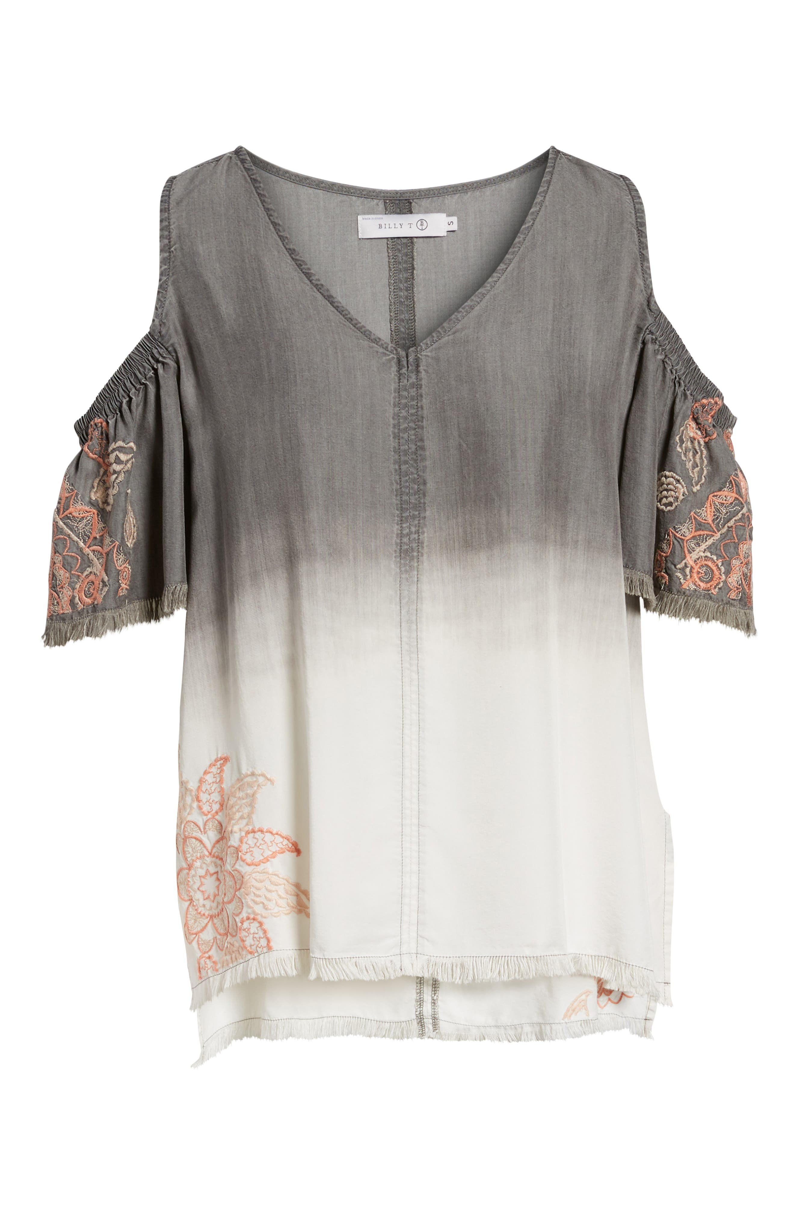 Dip Dye Embroidered Cold Shoulder Blouse,                             Alternate thumbnail 7, color,                             GREY WHITE EMBROIDER