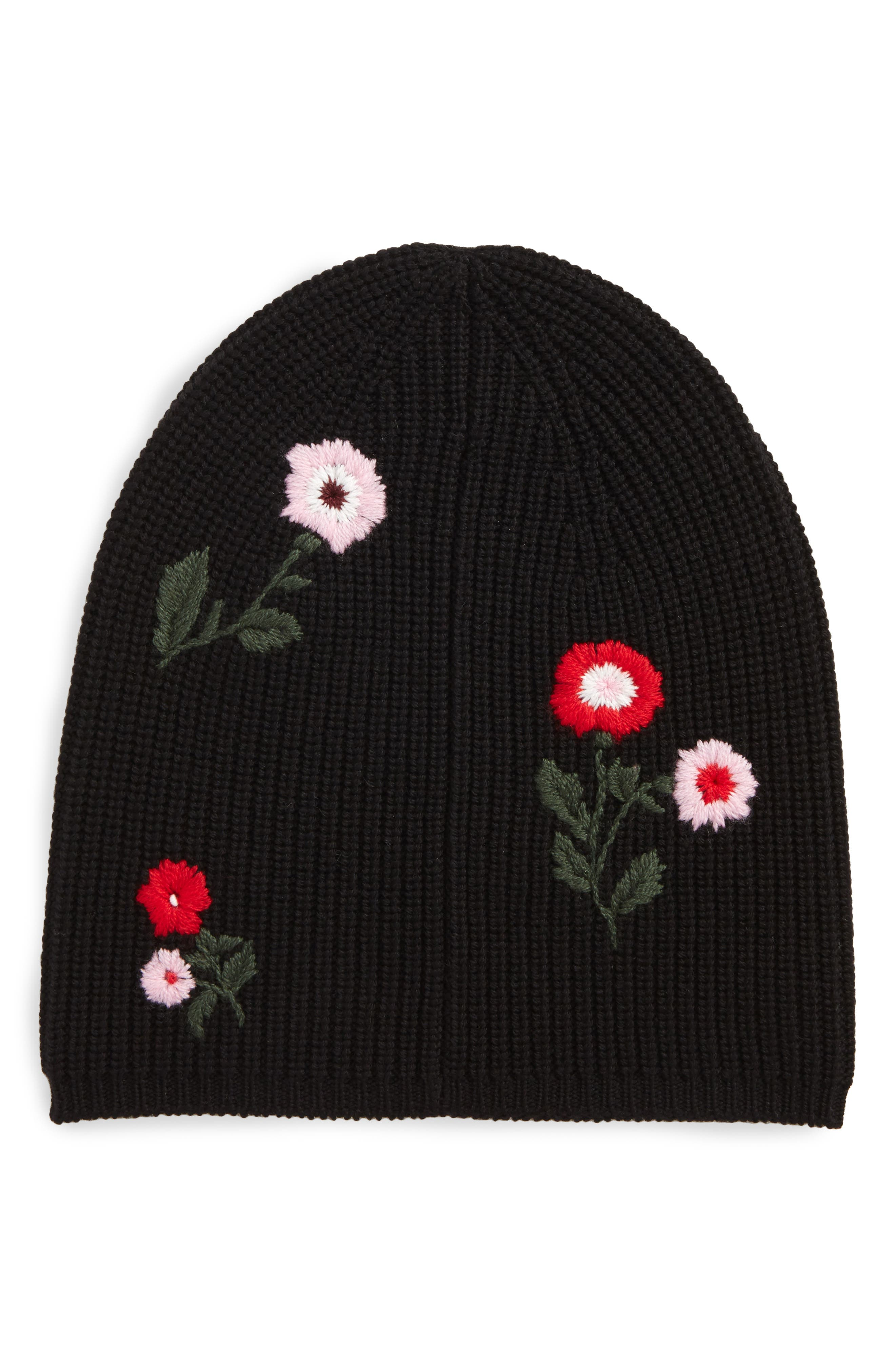 in bloom merino wool knit beanie,                             Main thumbnail 1, color,                             001