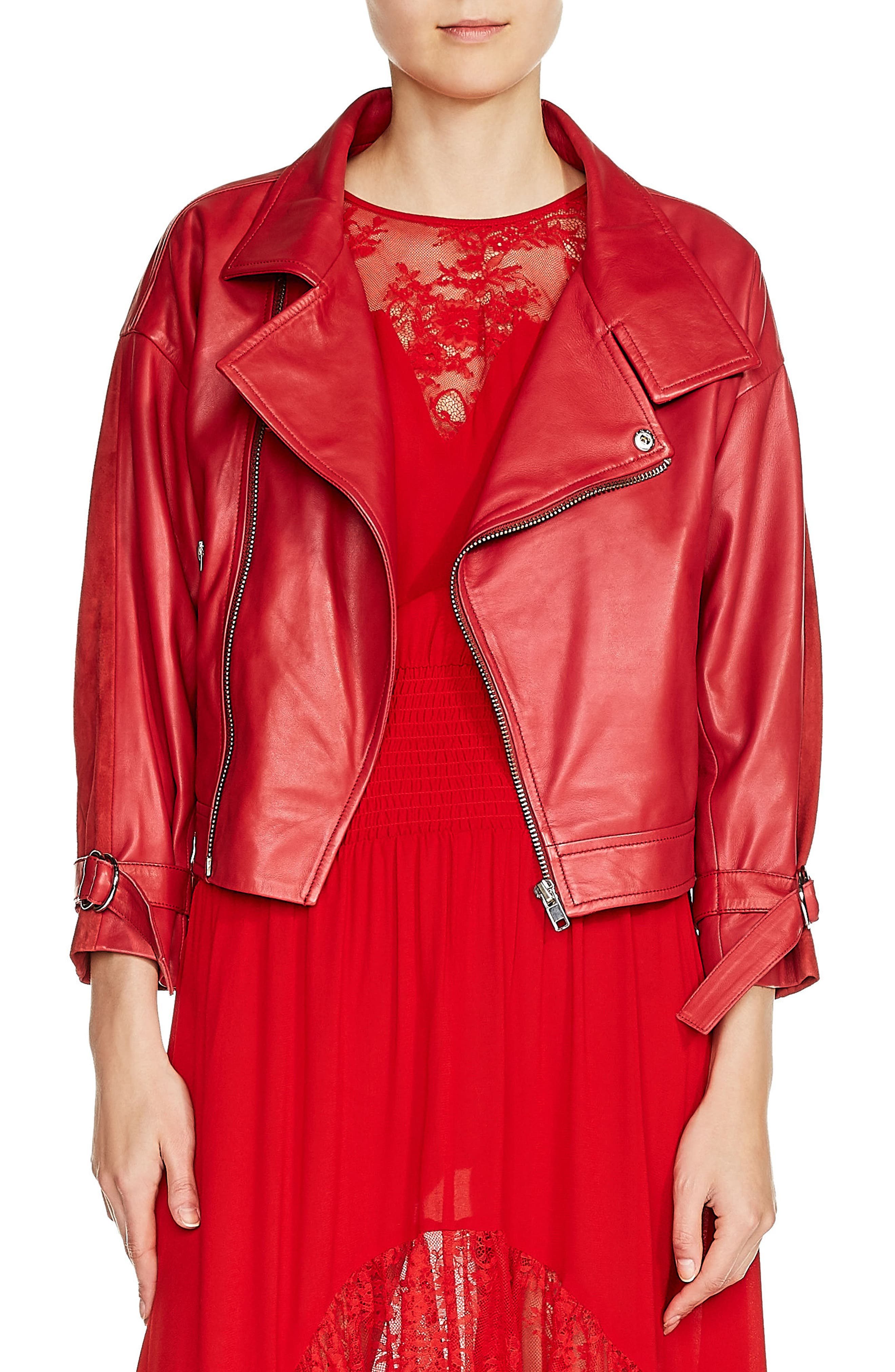 Belt Detail Leather & Suede Jacket,                         Main,                         color,