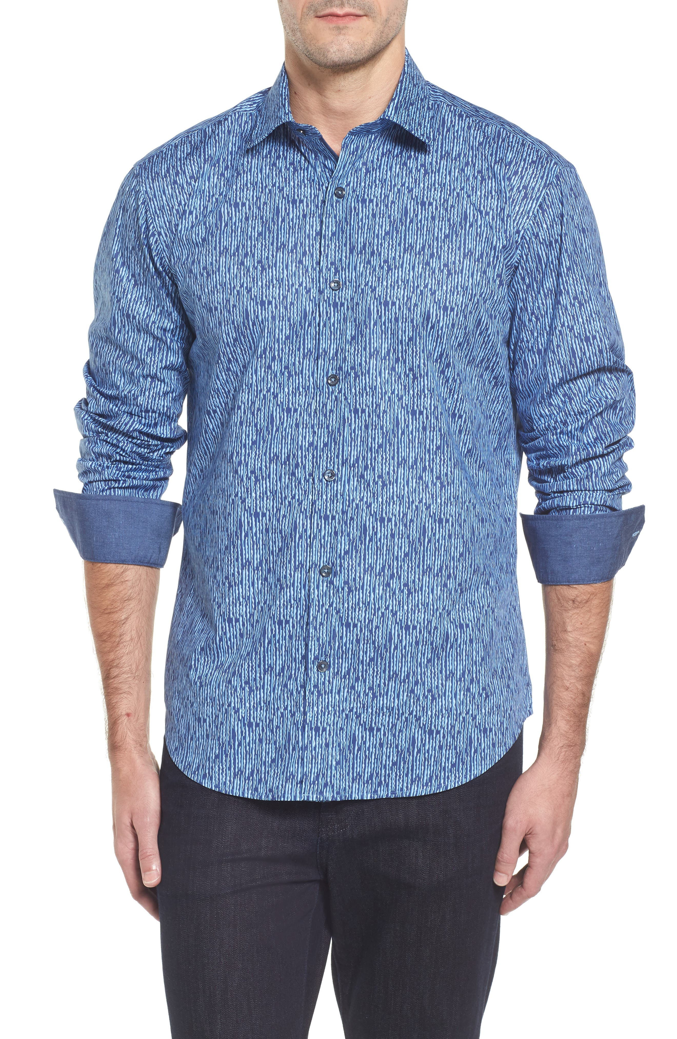 Shaped Fit Print Sport Shirt,                         Main,                         color, 408