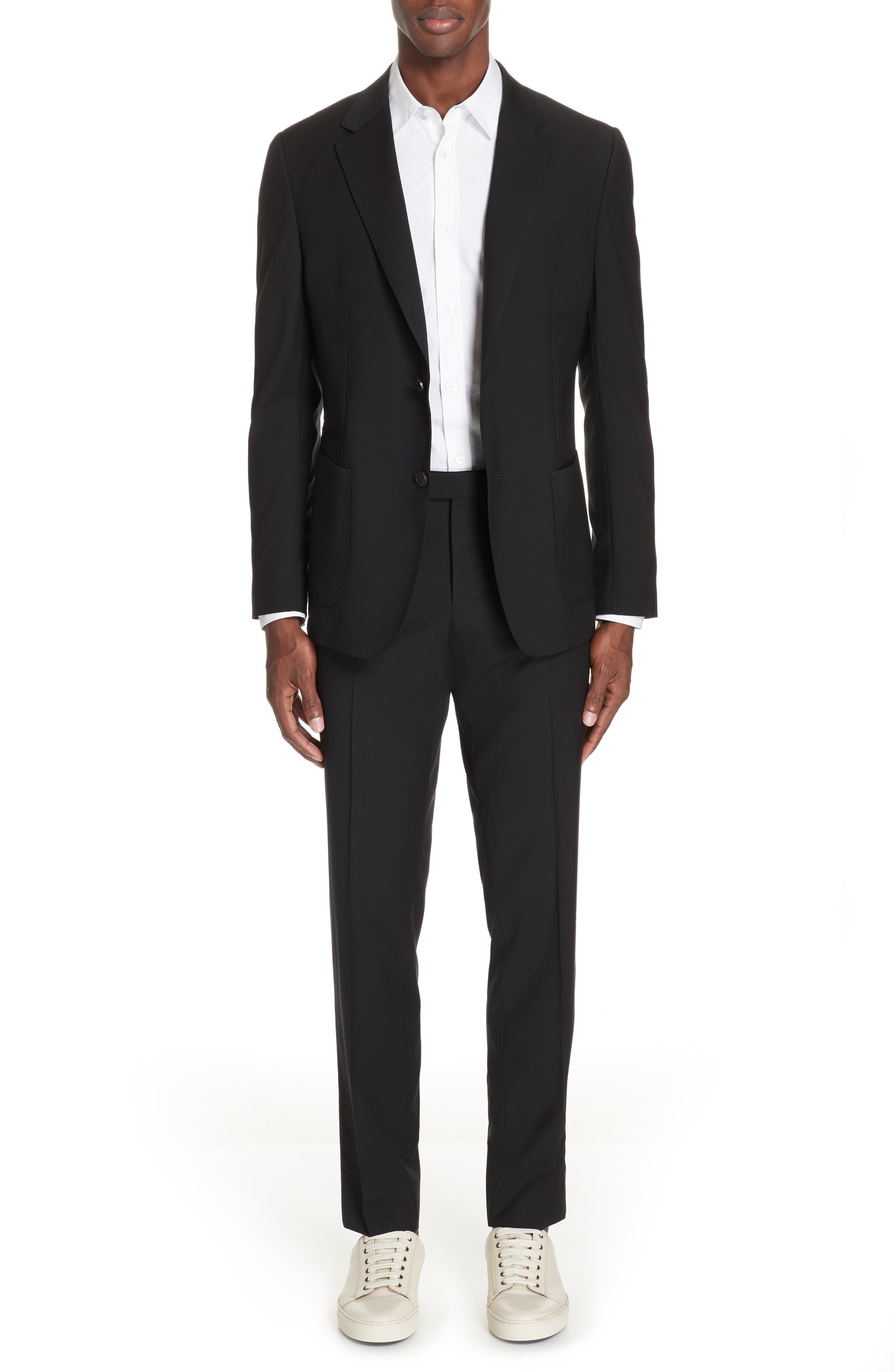 Wash and Go Trim Fit Solid Wool Suit,                             Main thumbnail 1, color,                             BLACK