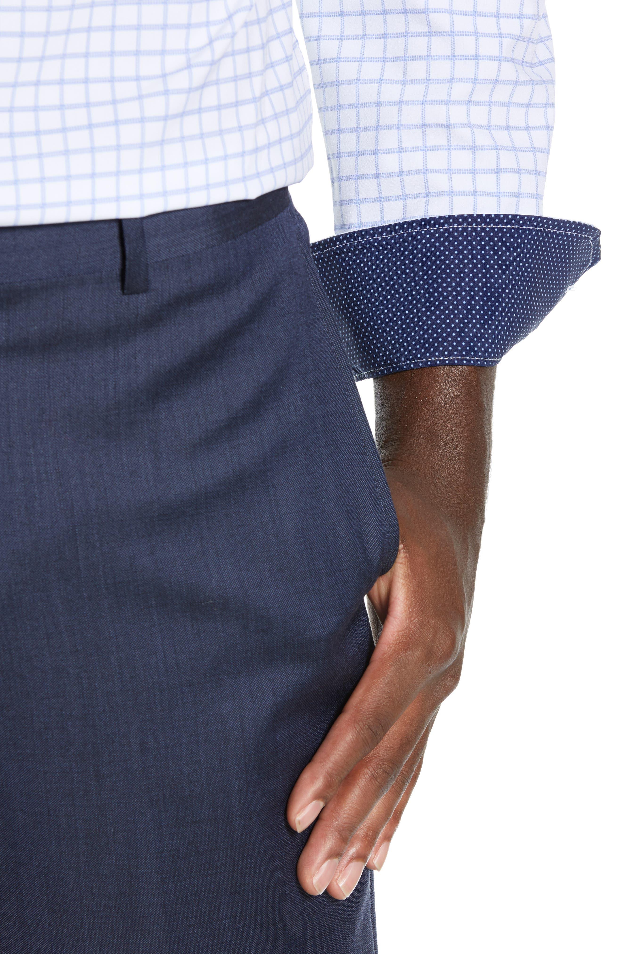 Trim Fit 4-Way Stretch Check Dress Shirt,                             Alternate thumbnail 2, color,                             WHITE