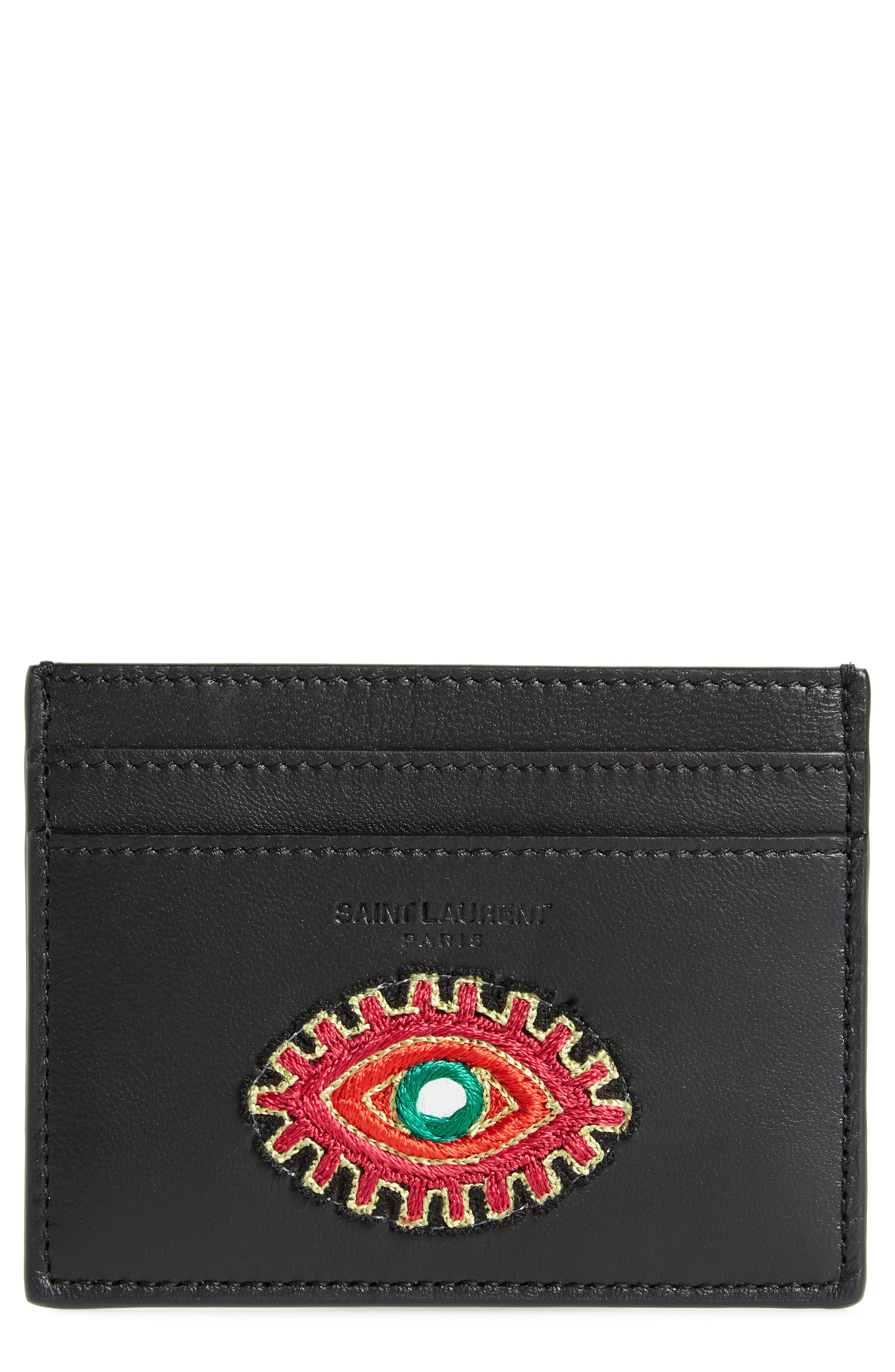 Embroidered Patch Leather Card Case,                             Main thumbnail 1, color,                             001