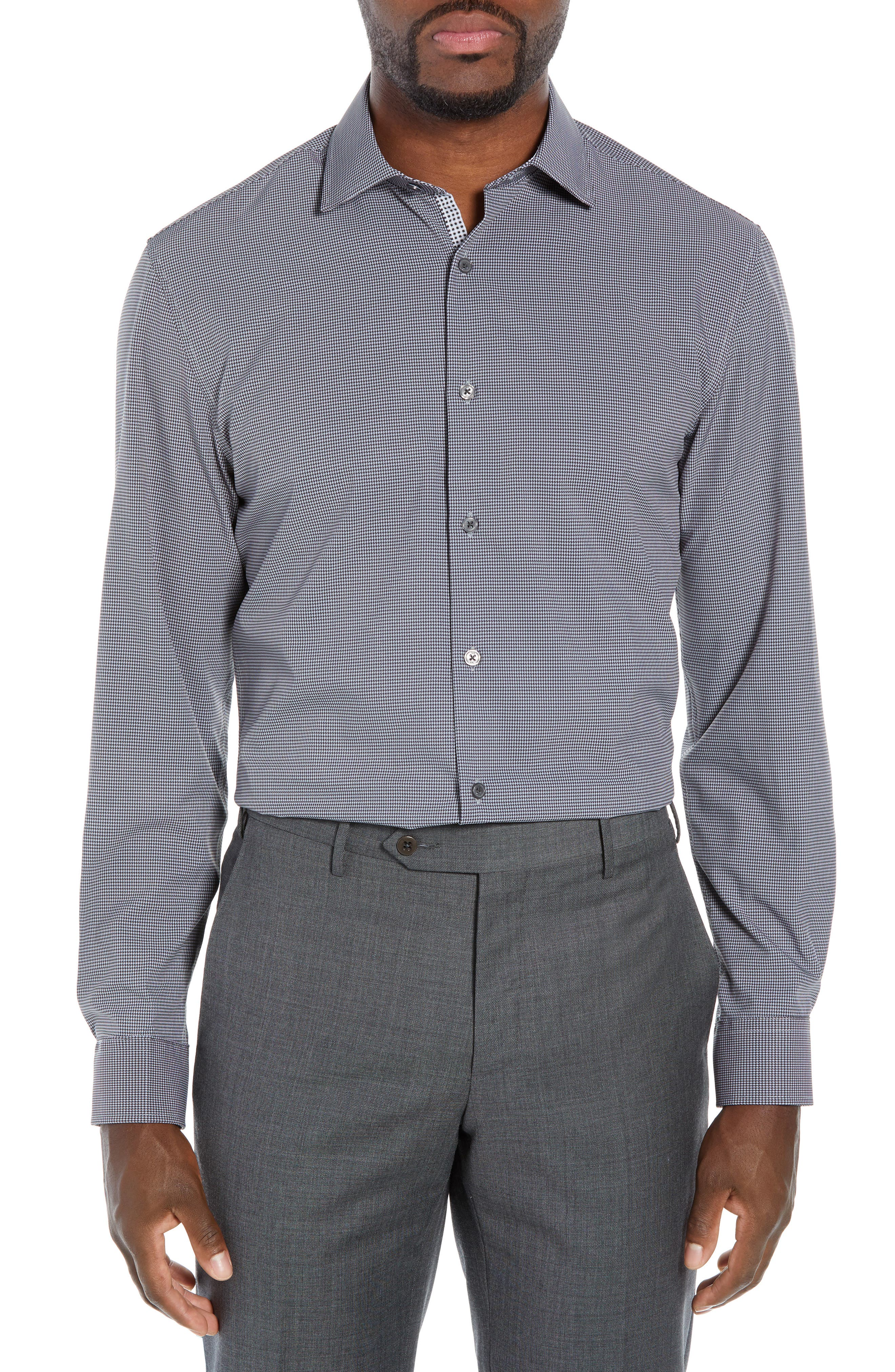 Trim Fit 4-Way Stretch Houndstooth Dress Shirt,                         Main,                         color, BLACK