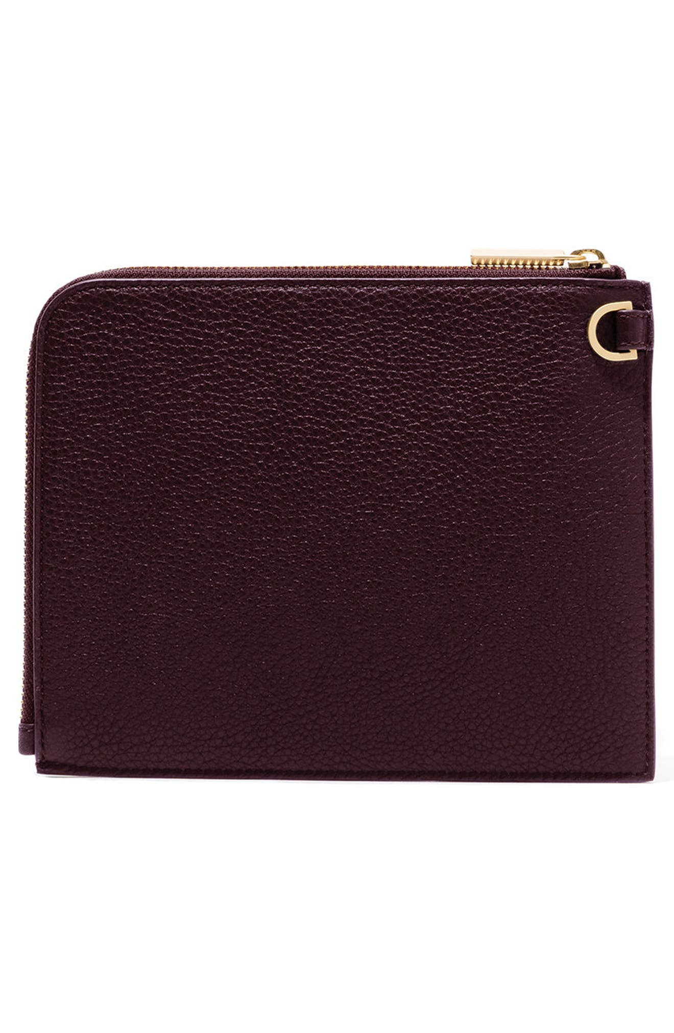 Small Elle Leather Clutch,                             Alternate thumbnail 18, color,