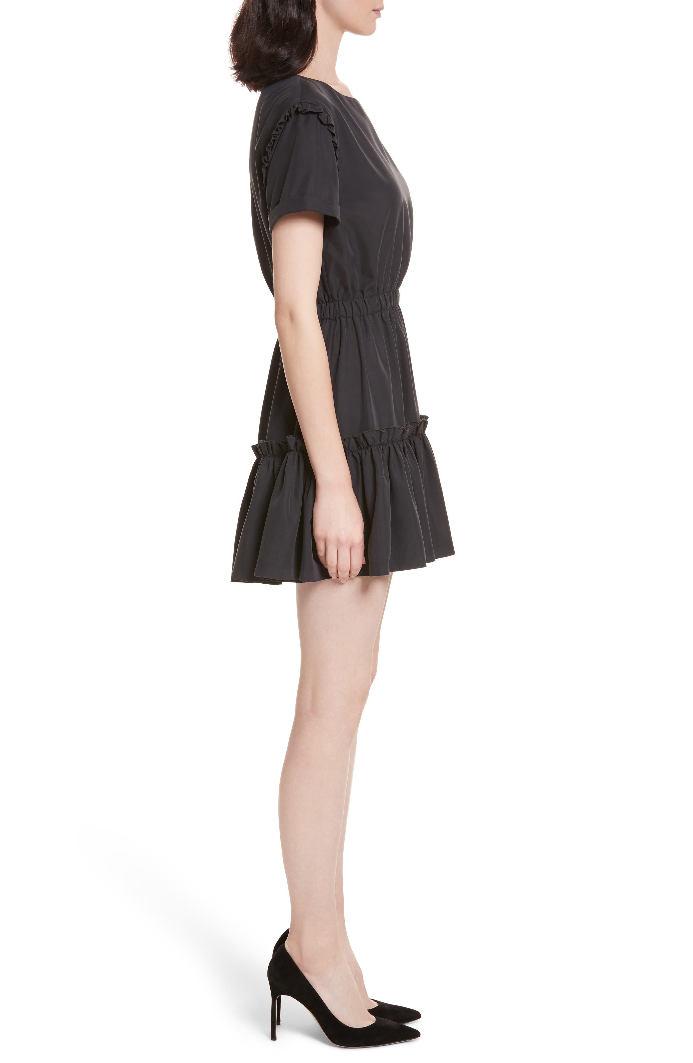 Garner Drop Shoulder Flounce Dress,                             Alternate thumbnail 3, color,                             001