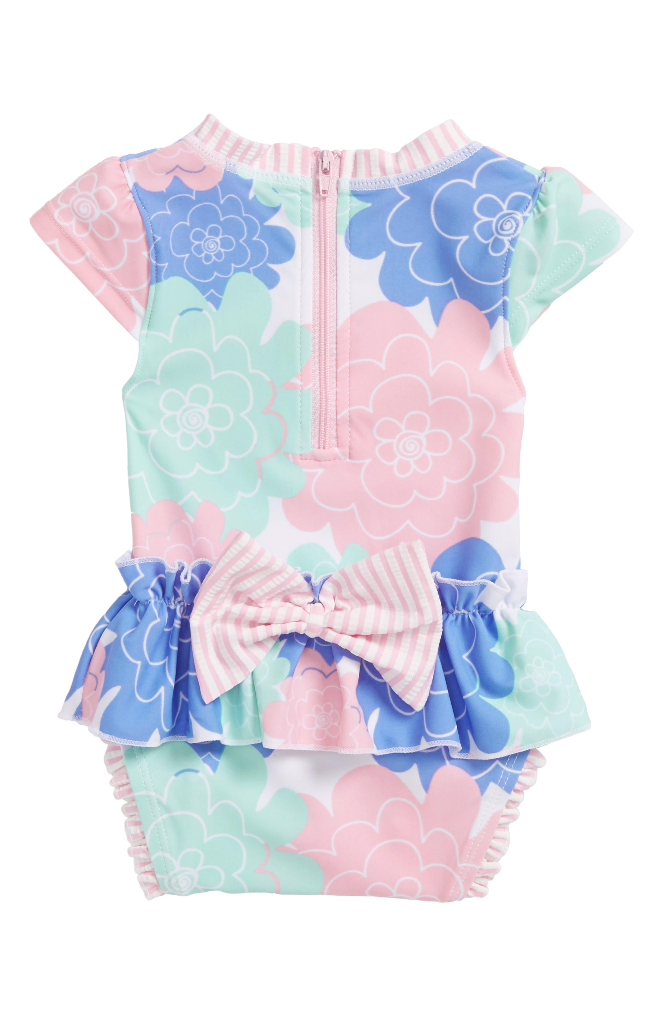 RUFFLEBUTTS,                             Pastel Petals Peplum One-Piece Swimsuit,                             Alternate thumbnail 2, color,                             180