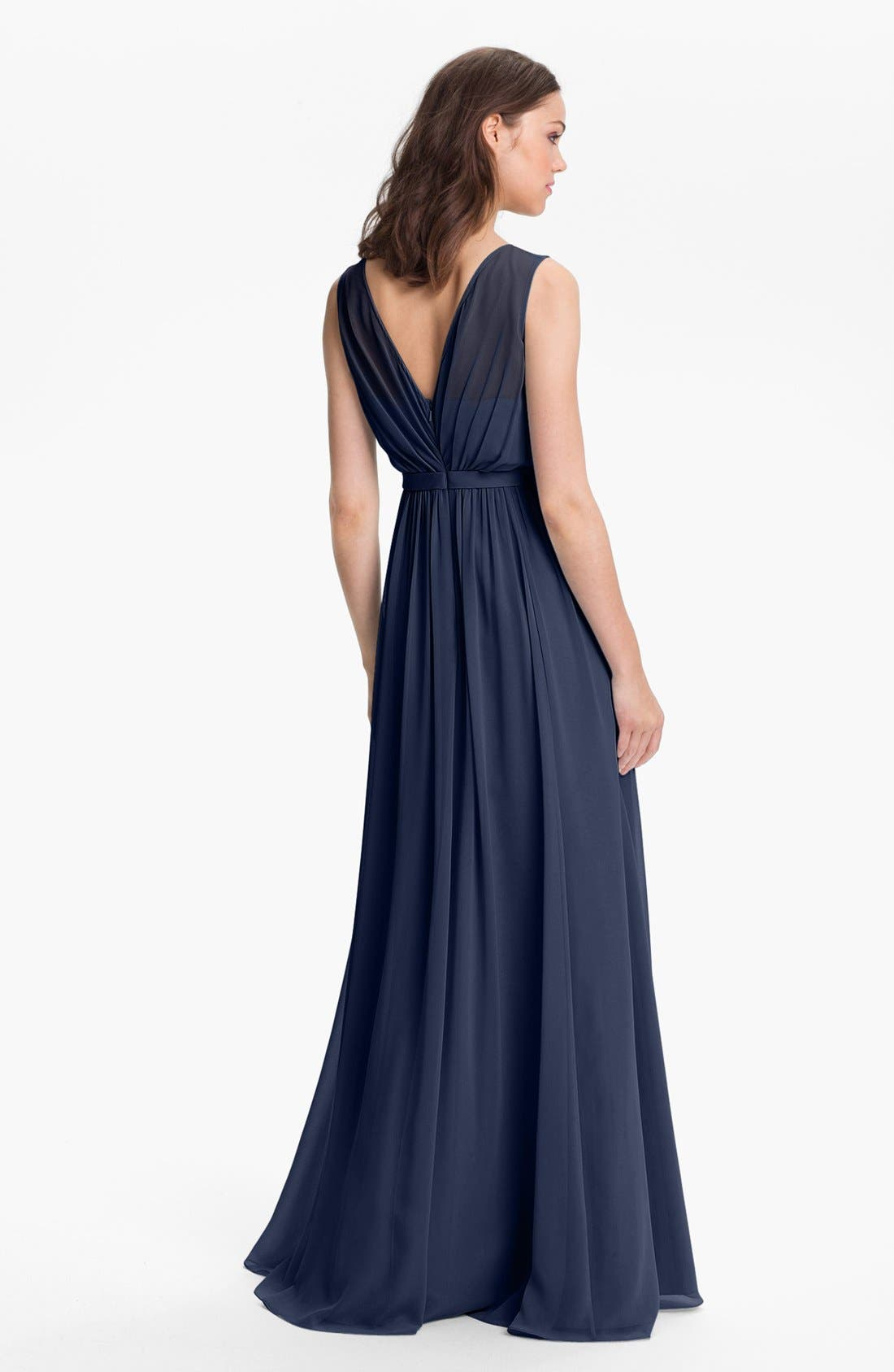 Vivienne Pleated Chiffon Gown,                             Alternate thumbnail 22, color,
