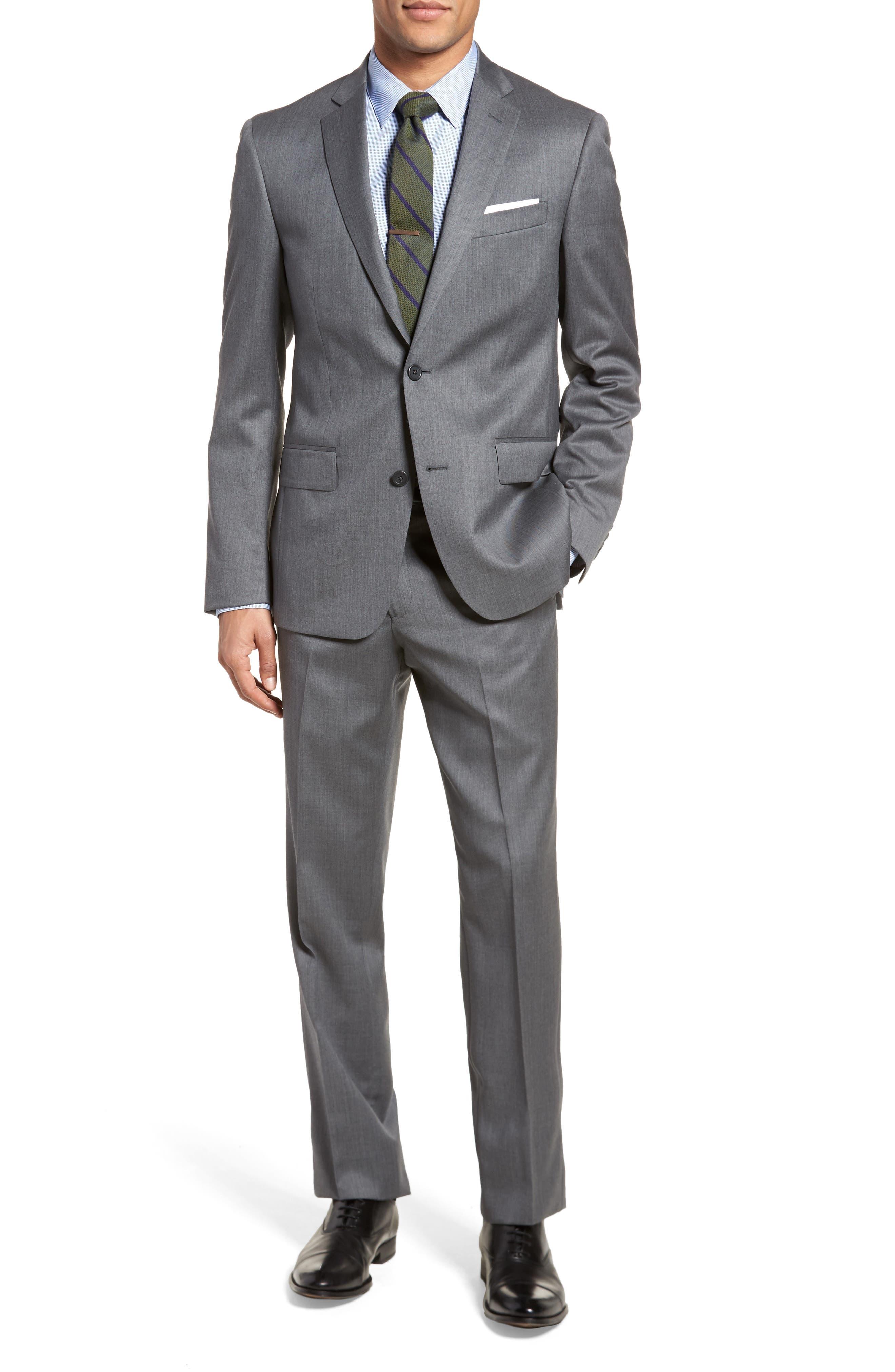Trim Fit Solid Wool Suit,                             Main thumbnail 2, color,