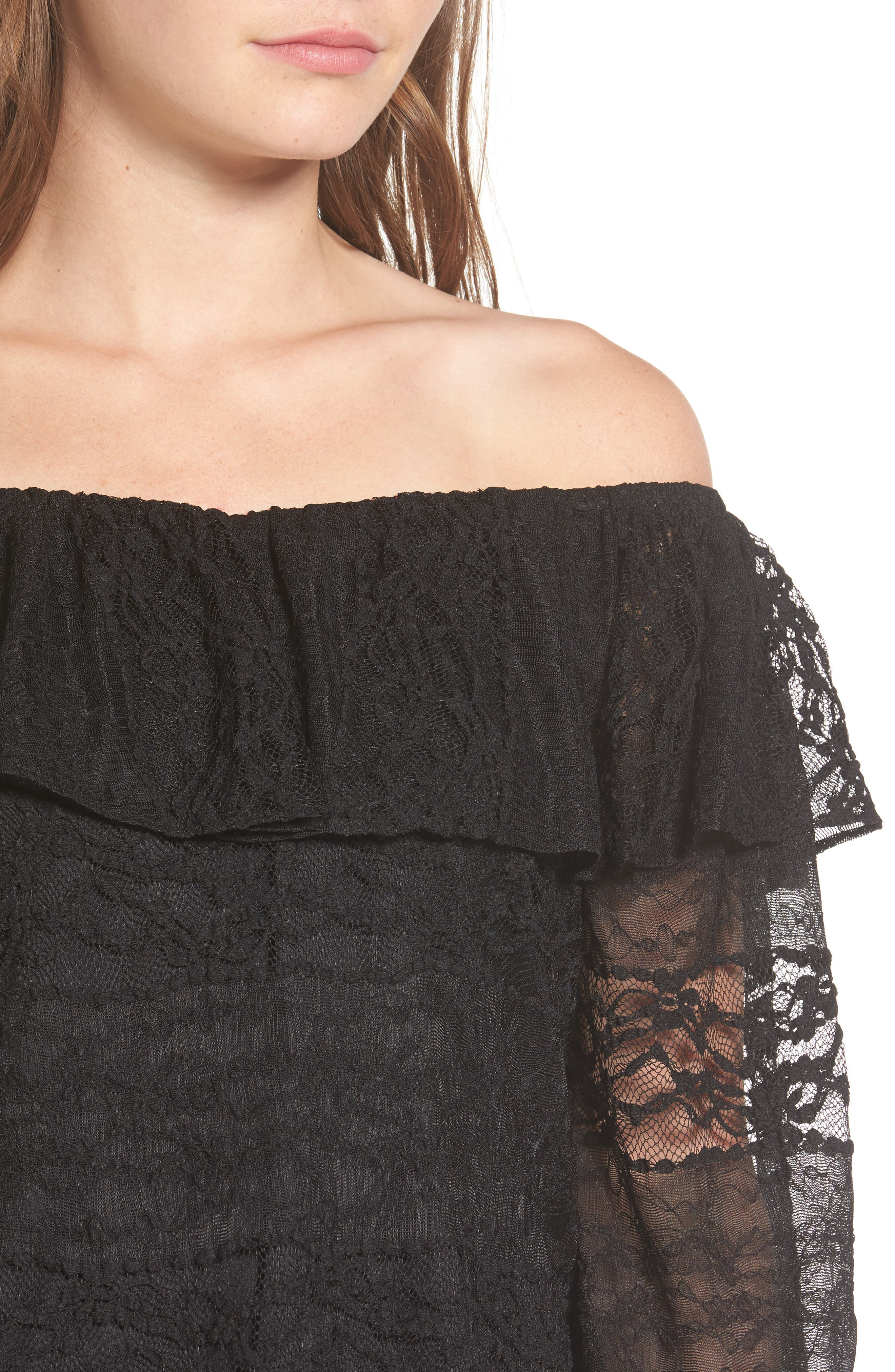 Wilma Off the Shoulder Lace Blouse,                             Alternate thumbnail 4, color,                             001