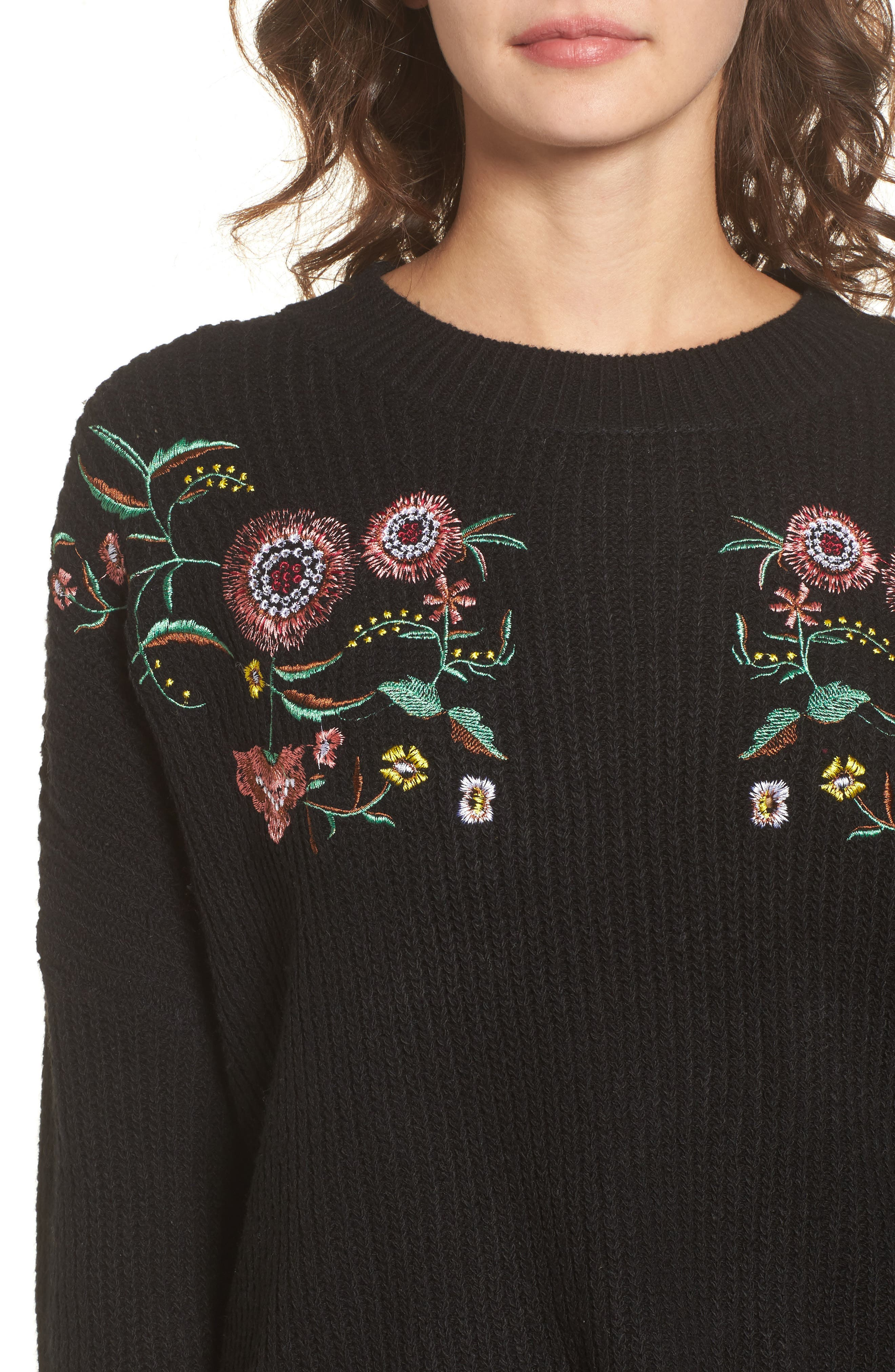 Embroidered Floral Sweater,                             Alternate thumbnail 4, color,                             001