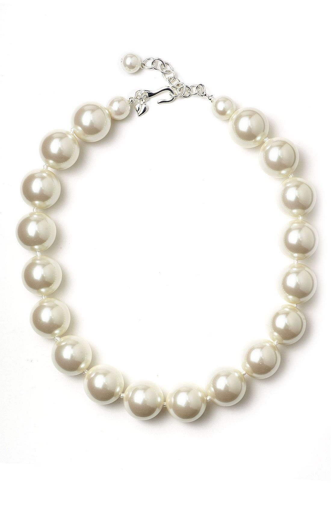 Carolee Pearl Necklace, Main, color, WHI