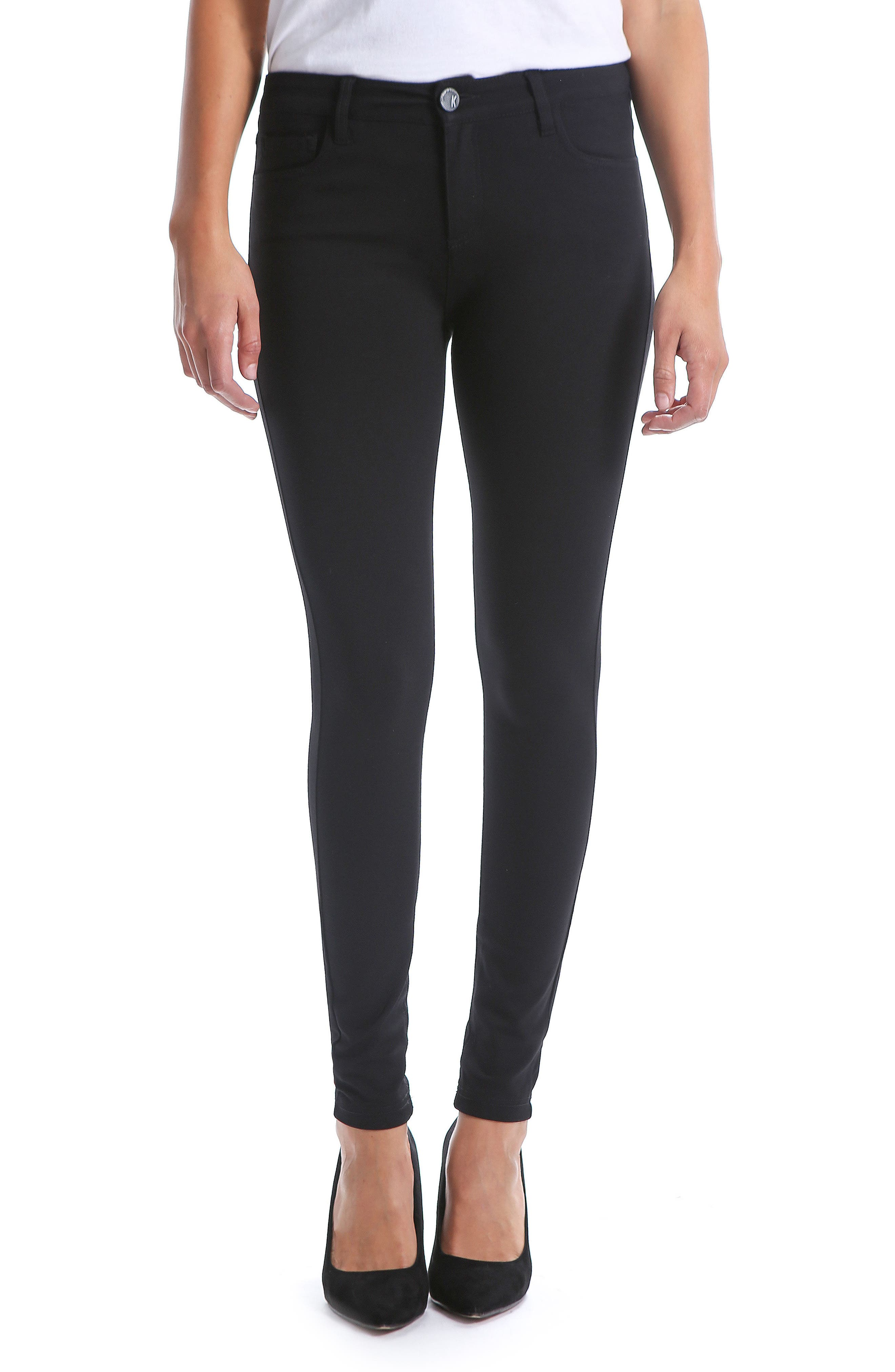 KUT FROM THE KLOTH,                             Donna High Waist Ponte Skinny Pants,                             Main thumbnail 1, color,                             002