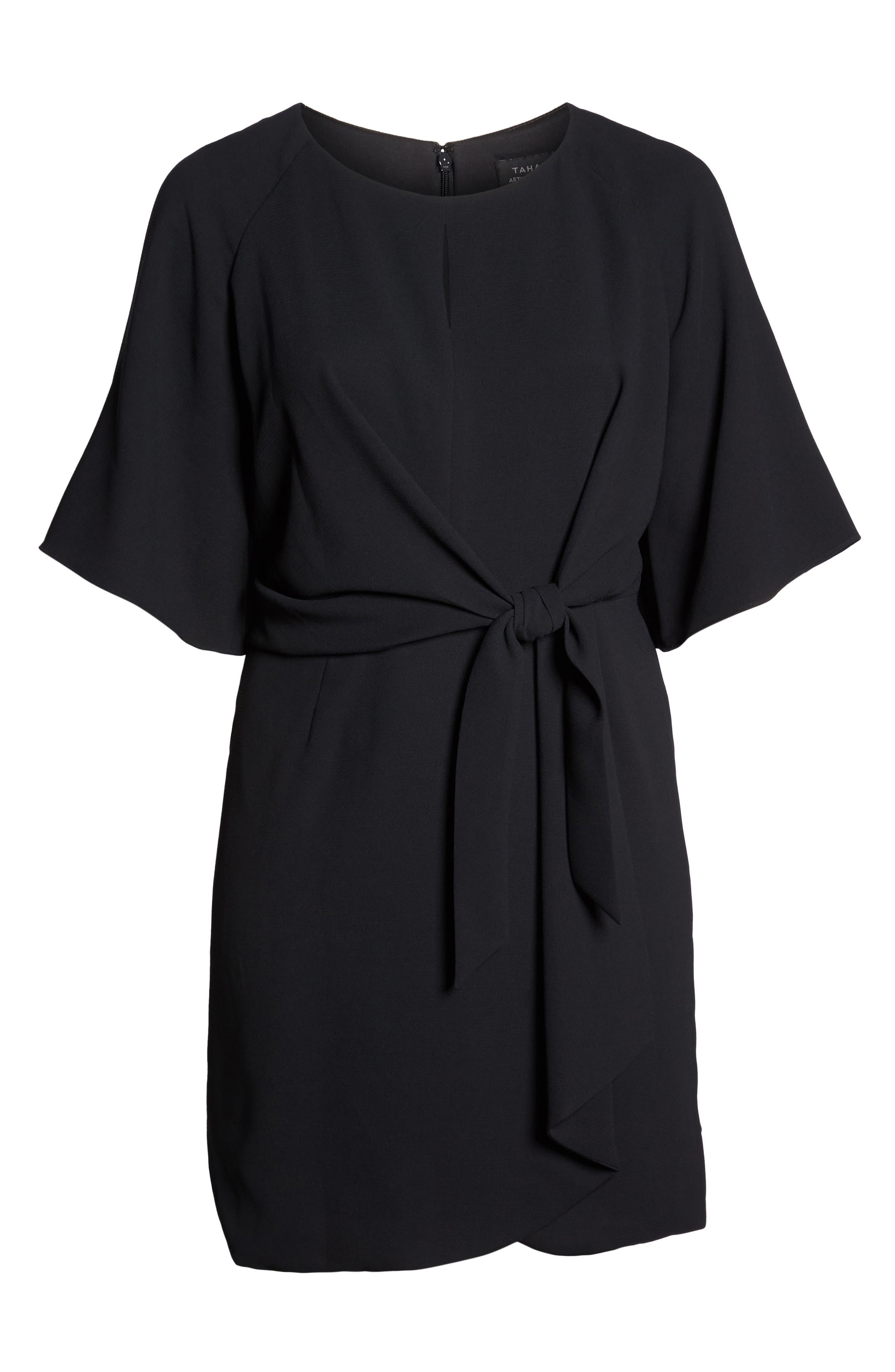 Tie Front Crepe Shift Dress,                             Alternate thumbnail 7, color,                             BLACK