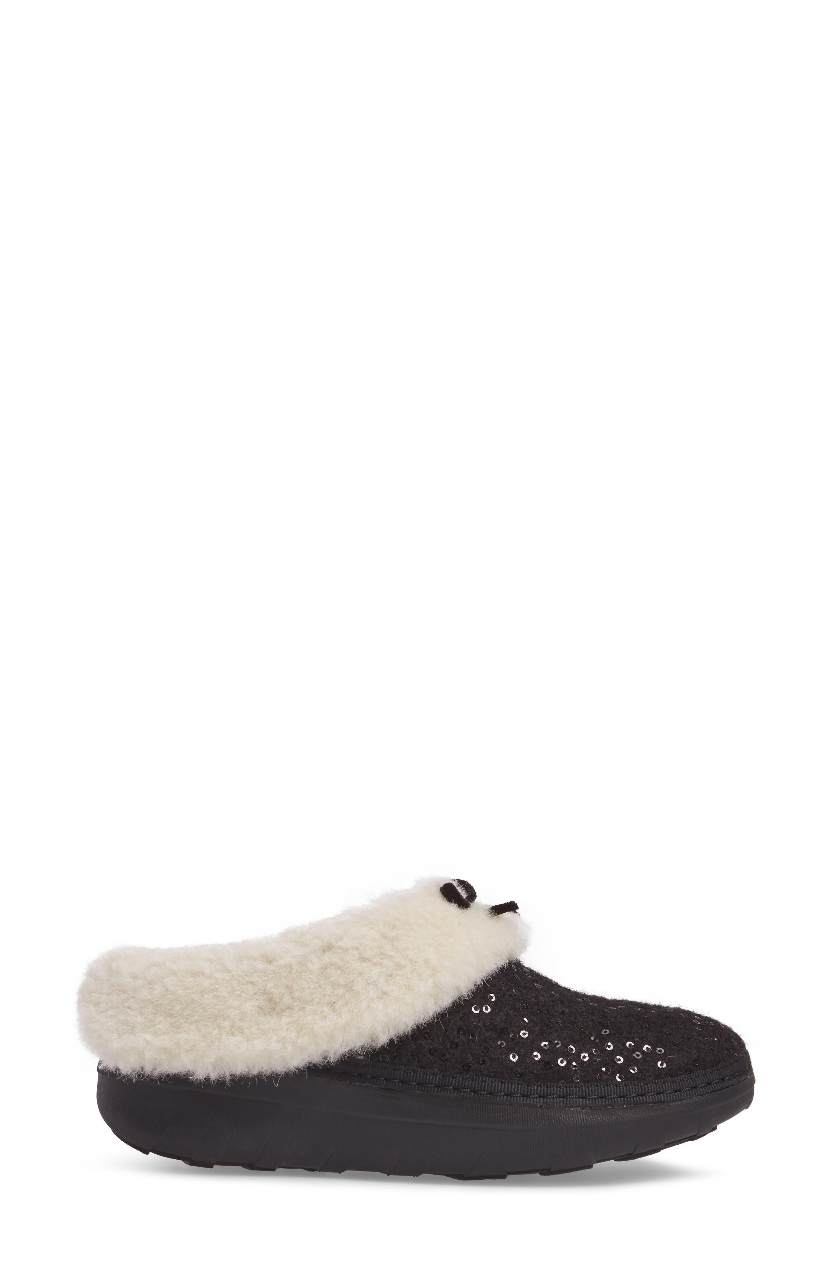 Loaff Snug Sequin Slipper,                             Alternate thumbnail 3, color,                             001
