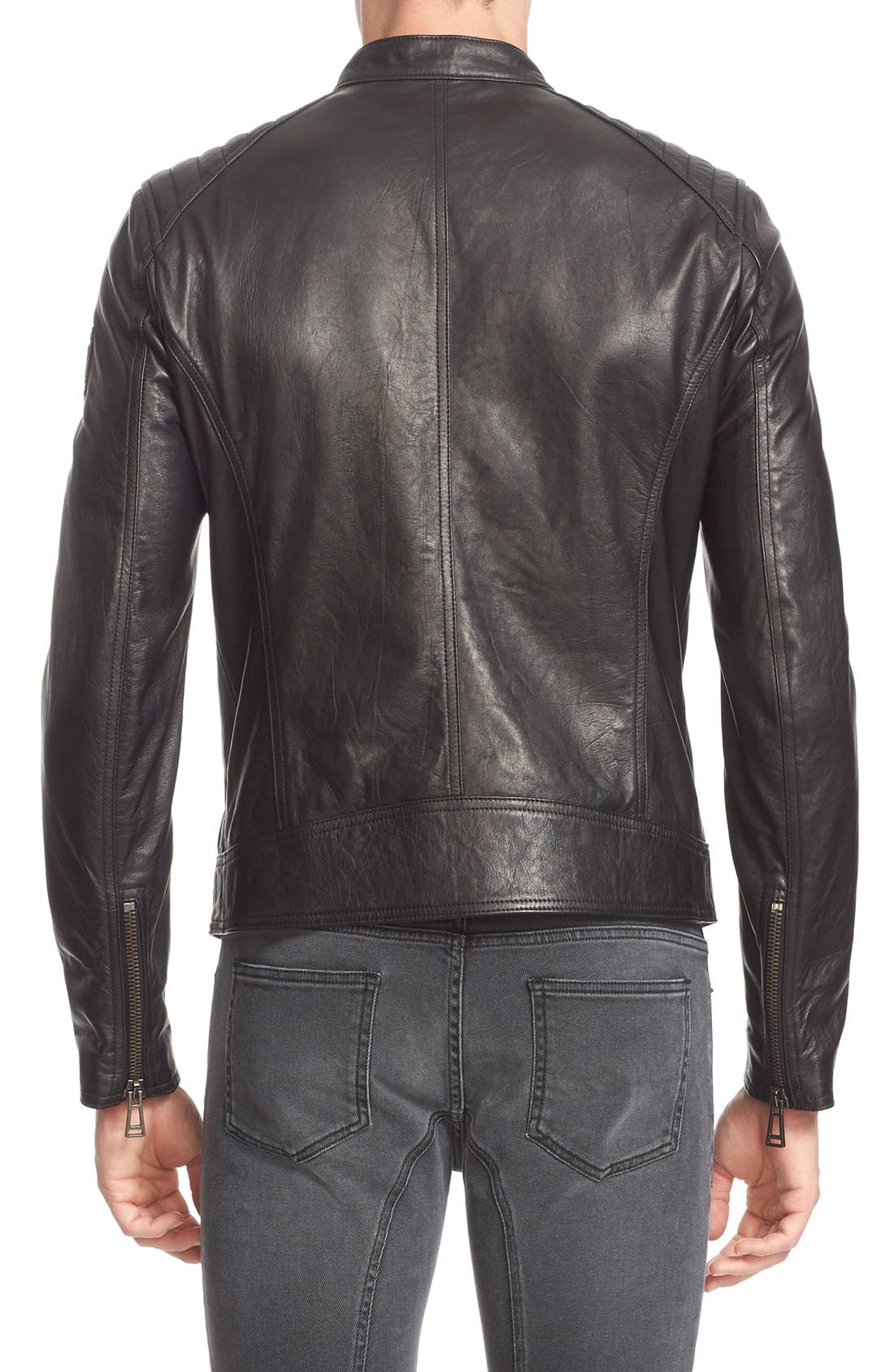 V Racer Leather Jacket,                             Alternate thumbnail 8, color,                             BLACK