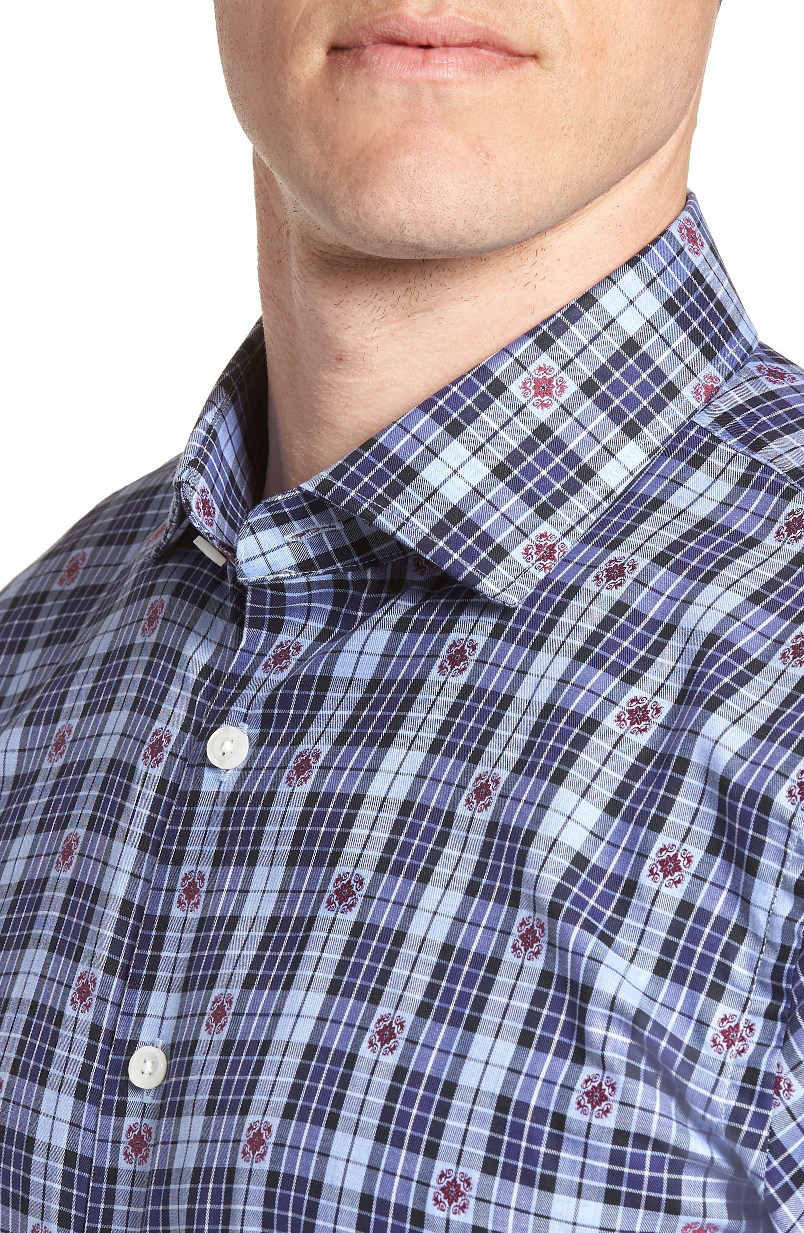 Trim Fit Plaid Dress Shirt,                             Alternate thumbnail 2, color,                             410