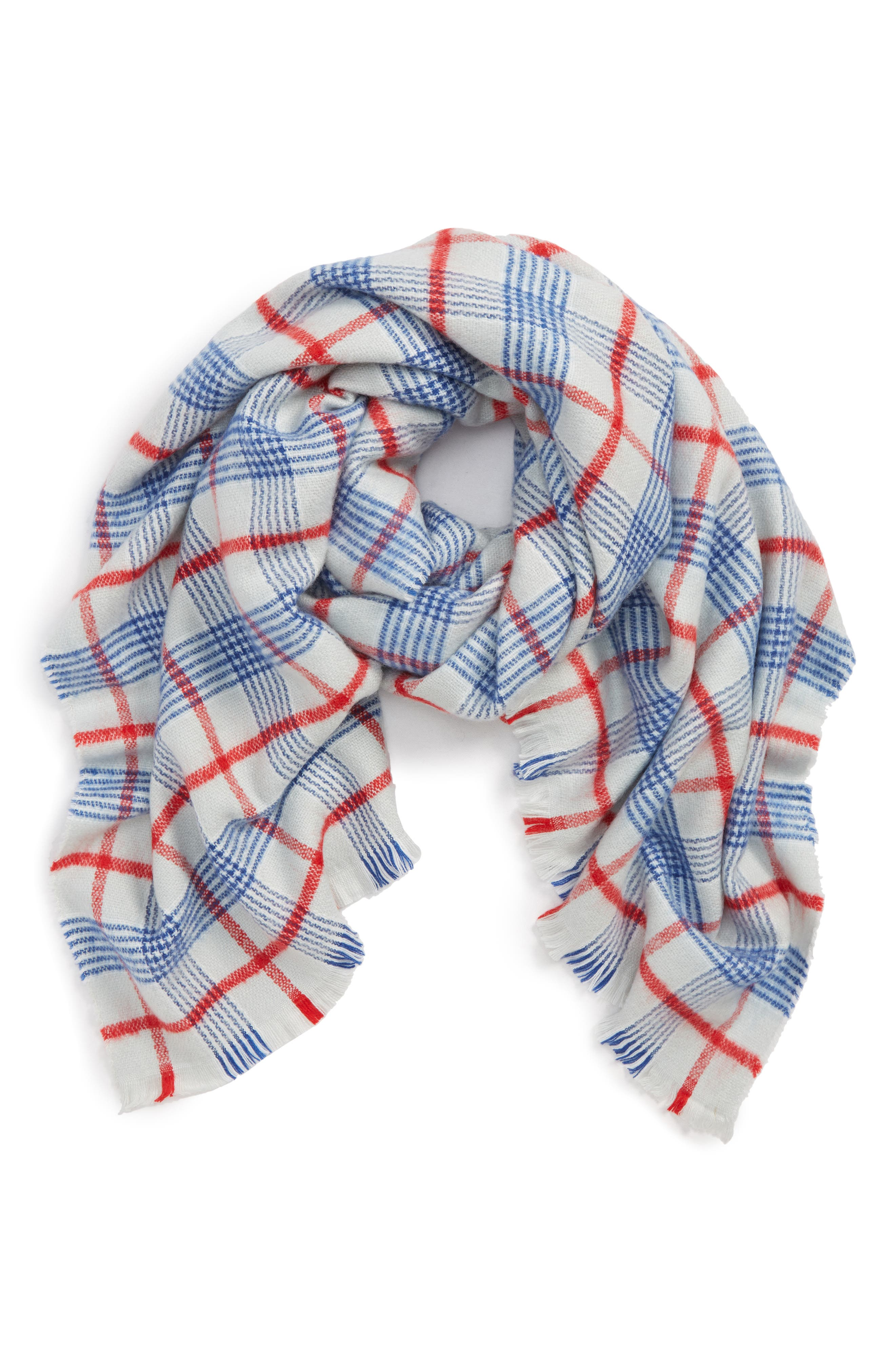 Tartan Plaid Scarf,                             Main thumbnail 1, color,                             GREY/ BLUE