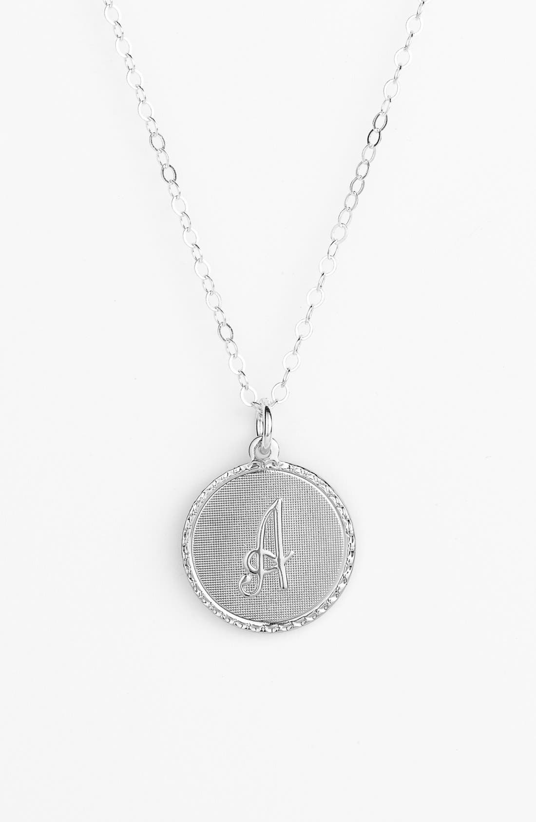 MOON AND LOLA 'Dalton' Initial Pendant Necklace, Main, color, SILVER- A