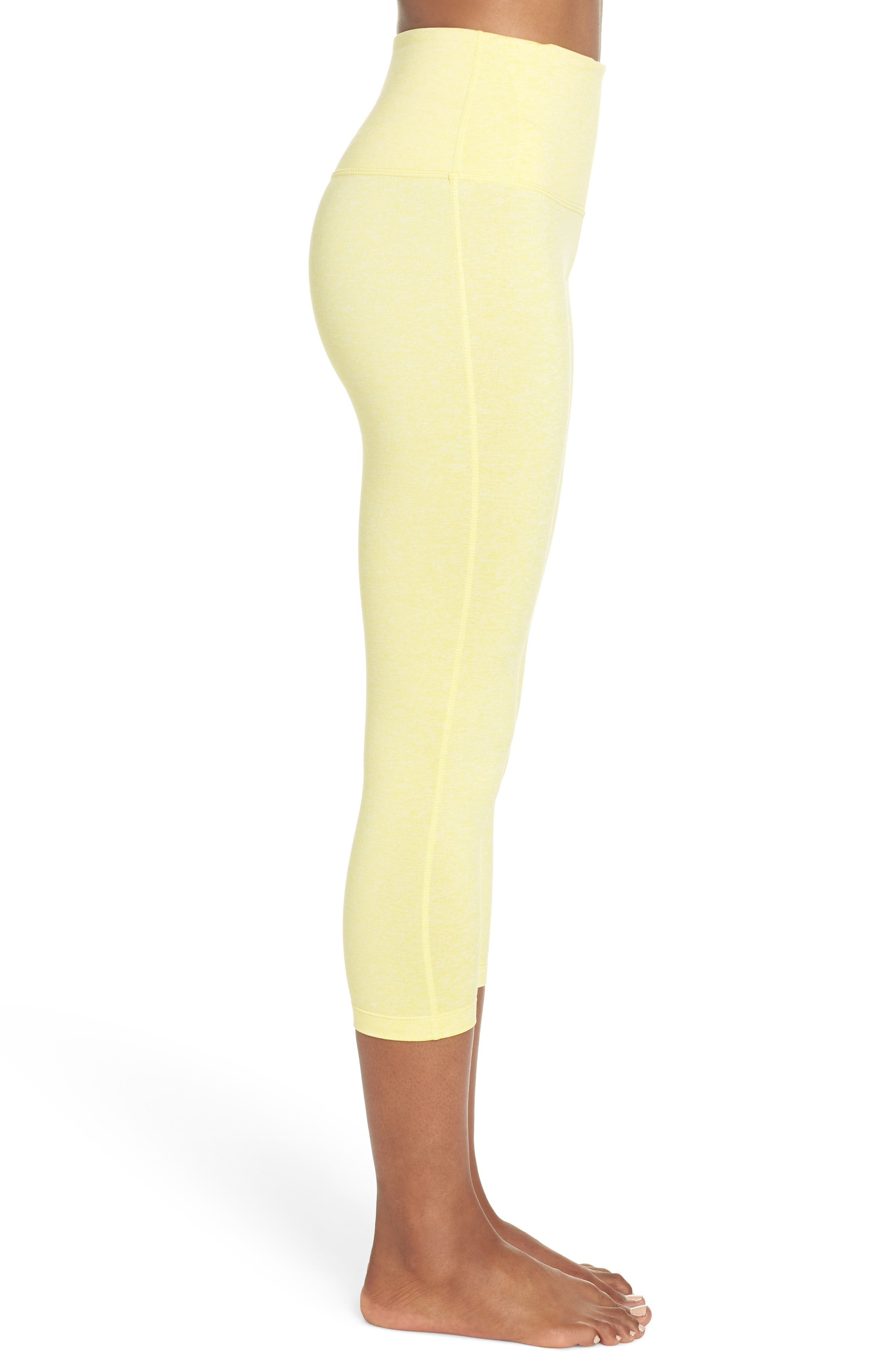 Live In High Waist Crop Recycled Leggings,                             Alternate thumbnail 3, color,                             YELLOW GLOW