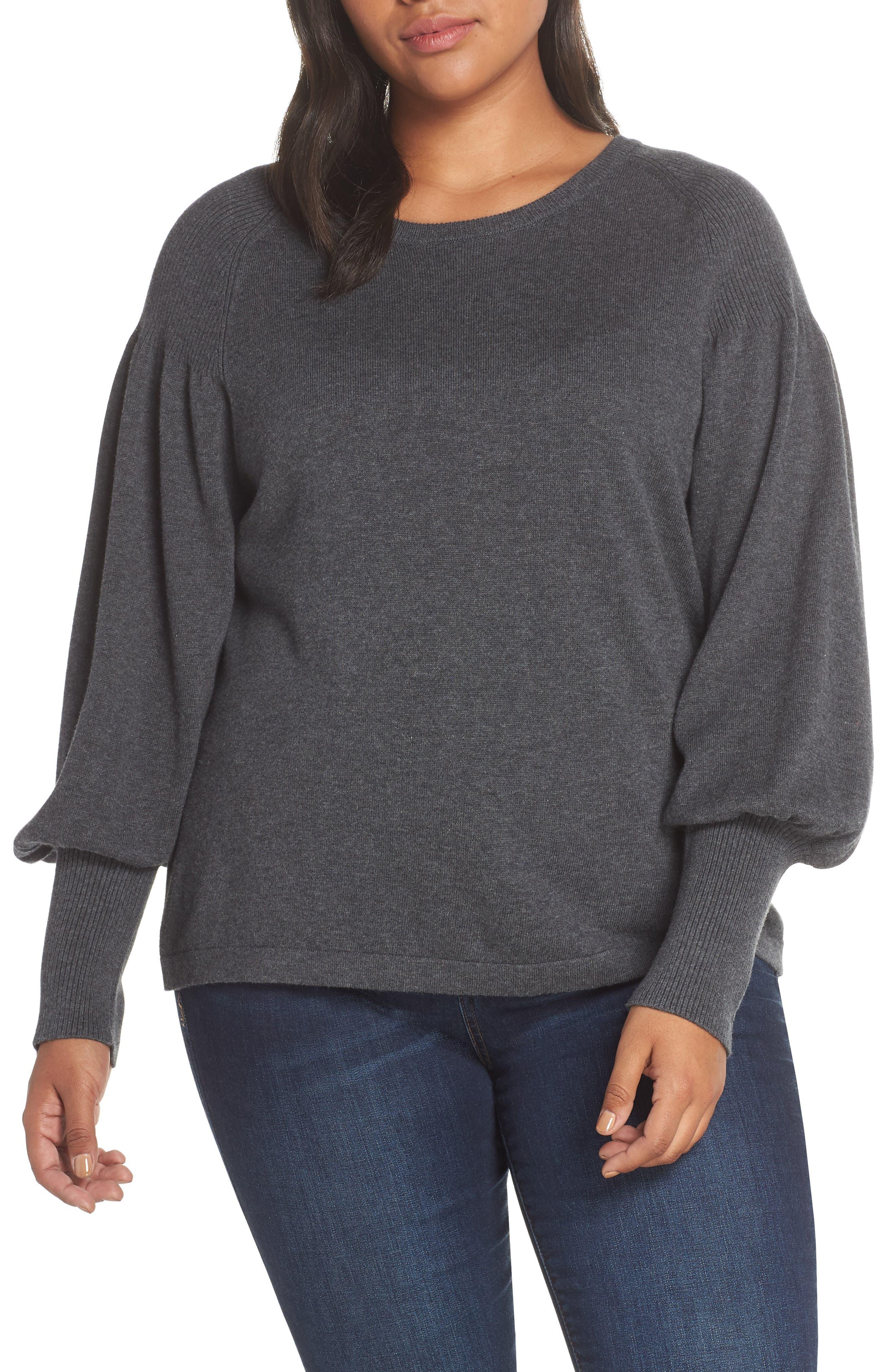 Blouson Sleeve Sweater,                             Alternate thumbnail 2, color,                             MED HEATHER GREY