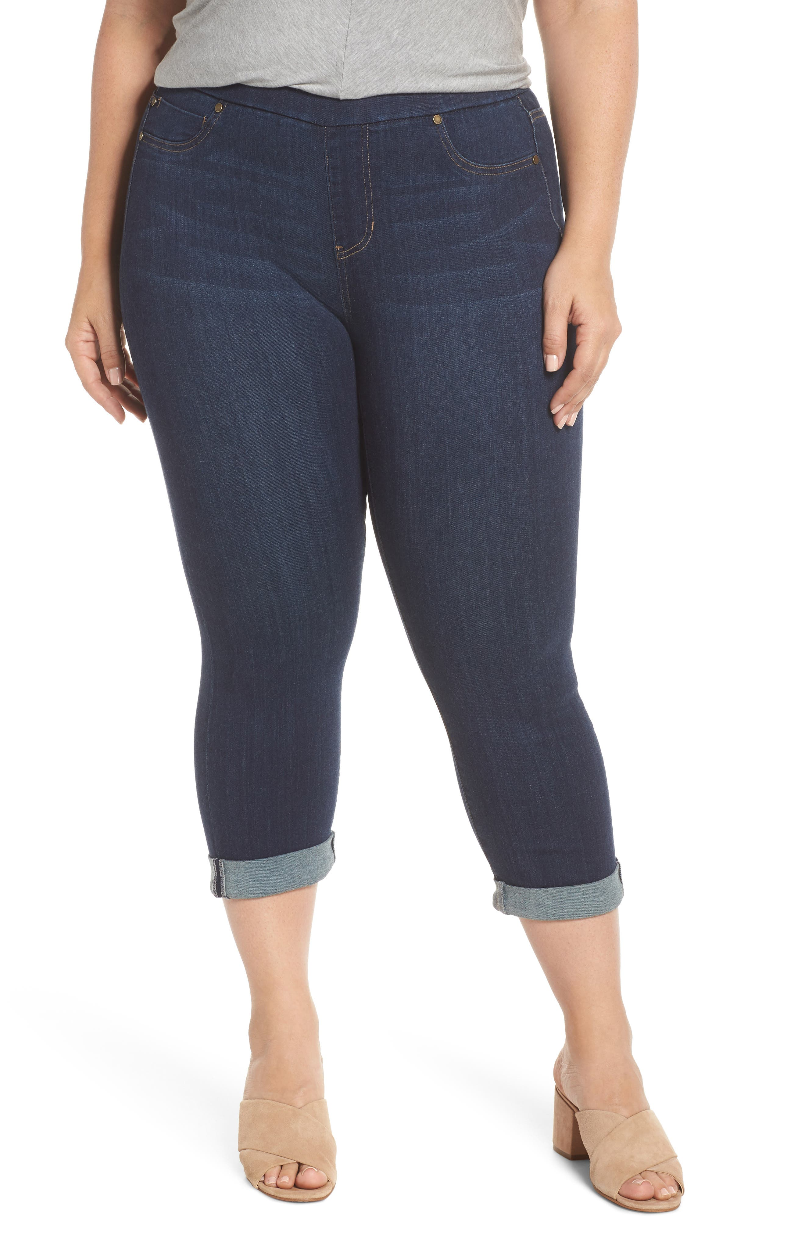 Plus Size Liverpool Sienna Pull-On Denim Capri Pants, Blue