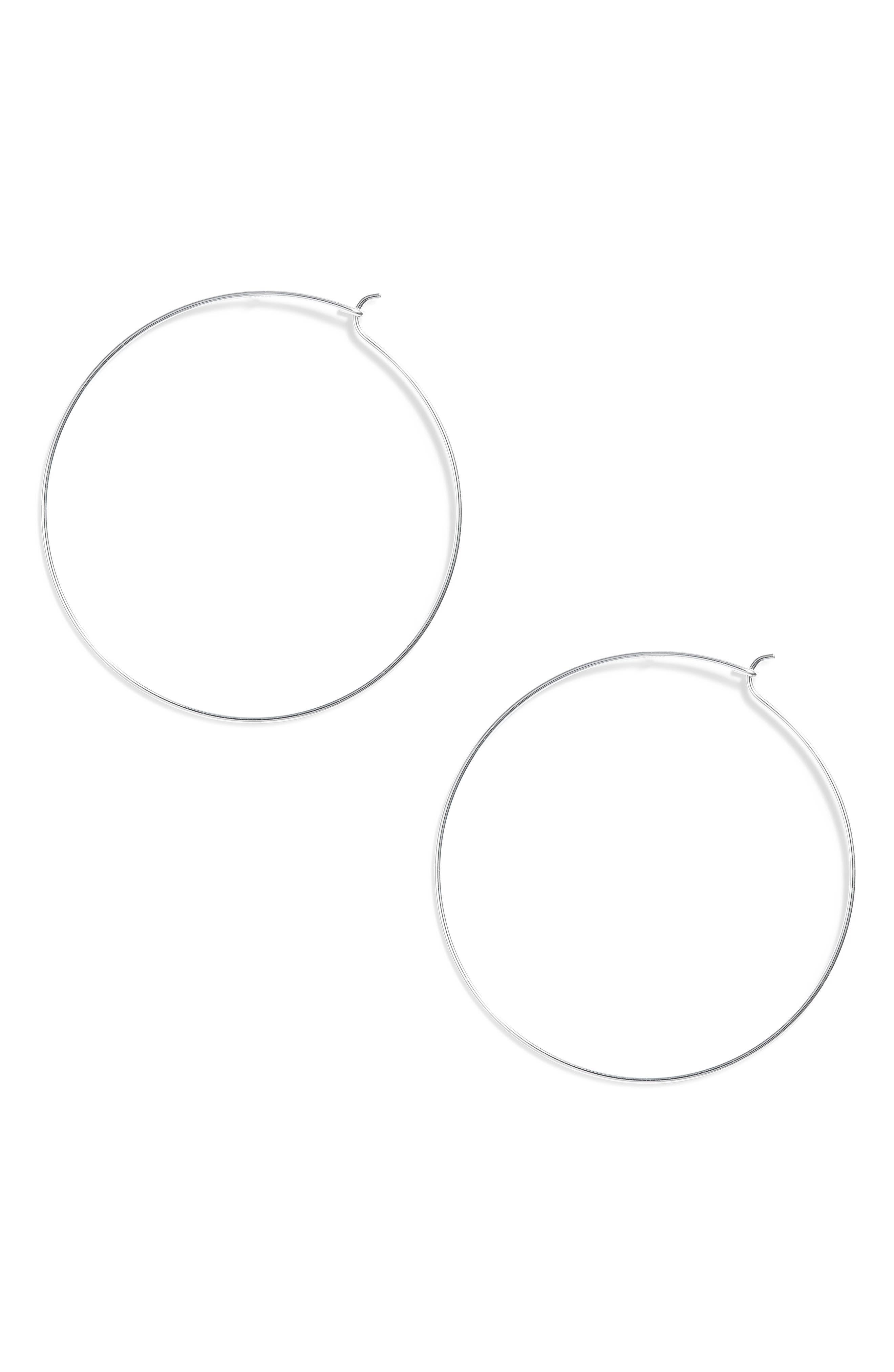 Thin Hoop Earrings,                             Main thumbnail 1, color,                             SILVER