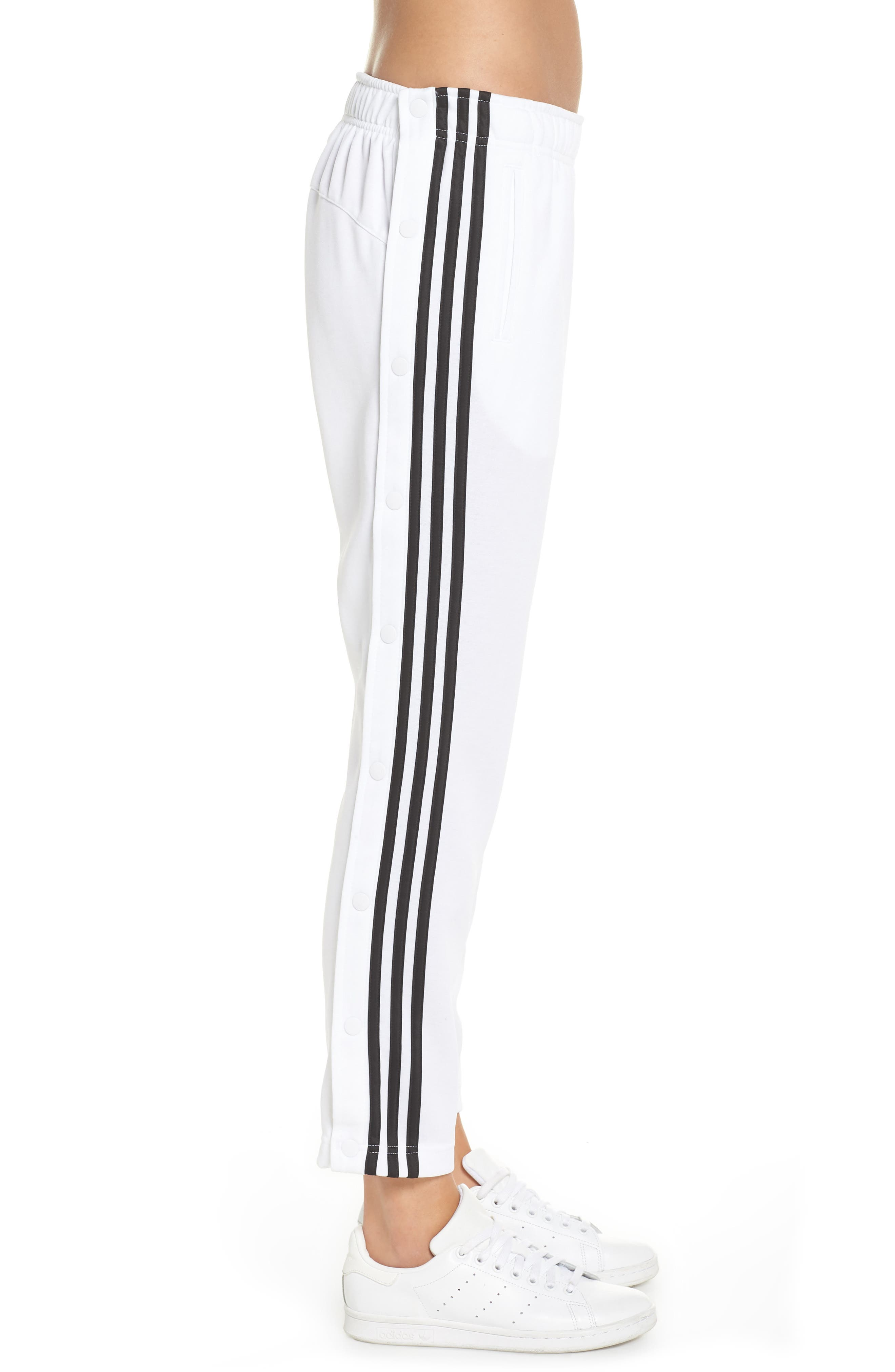 Tricot Snap Pants,                             Alternate thumbnail 3, color,                             WHITE/ BLACK/ BLACK