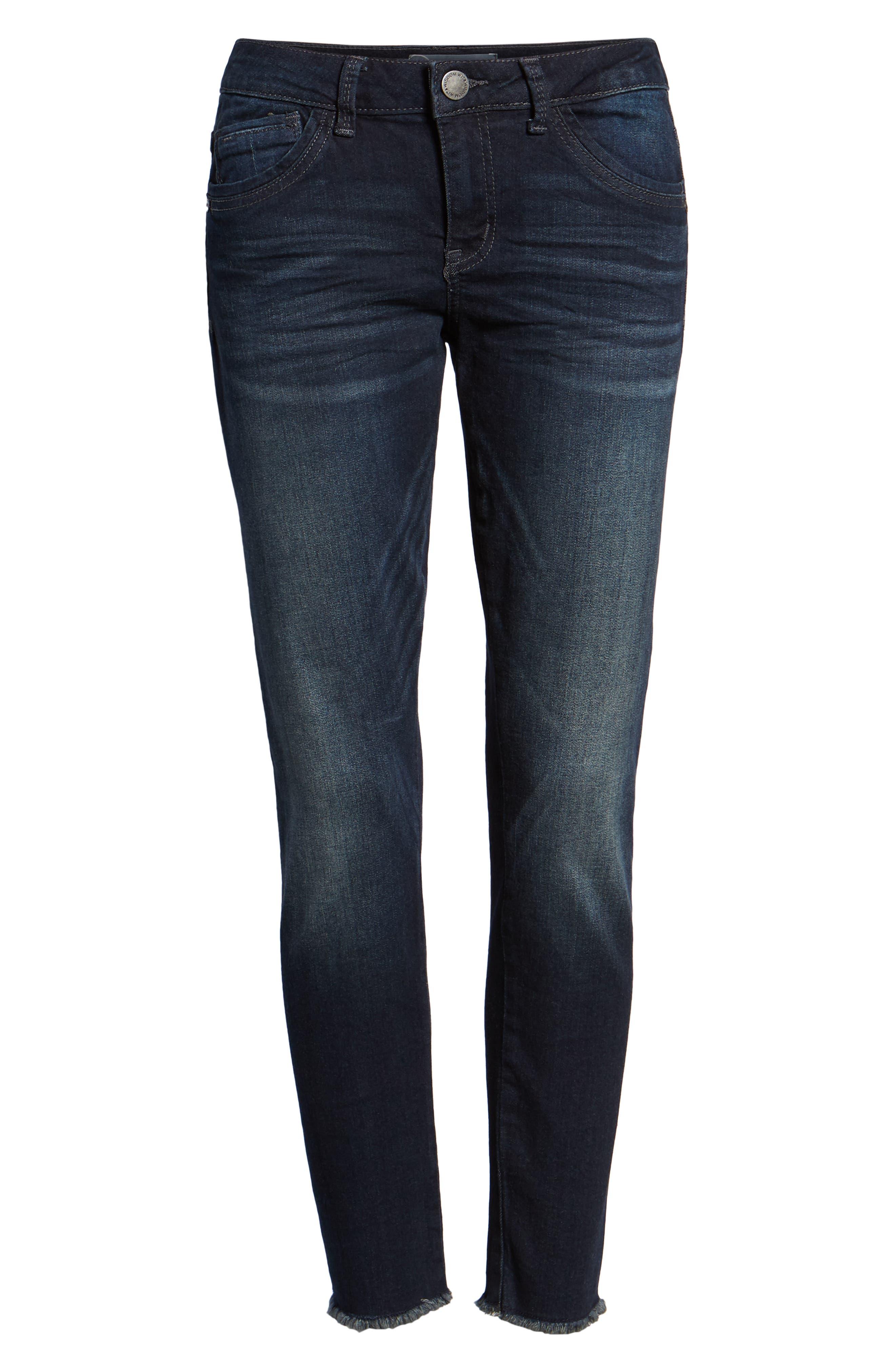 Seamless Ankle Skimmer Jeans,                             Alternate thumbnail 7, color,                             INDIGO