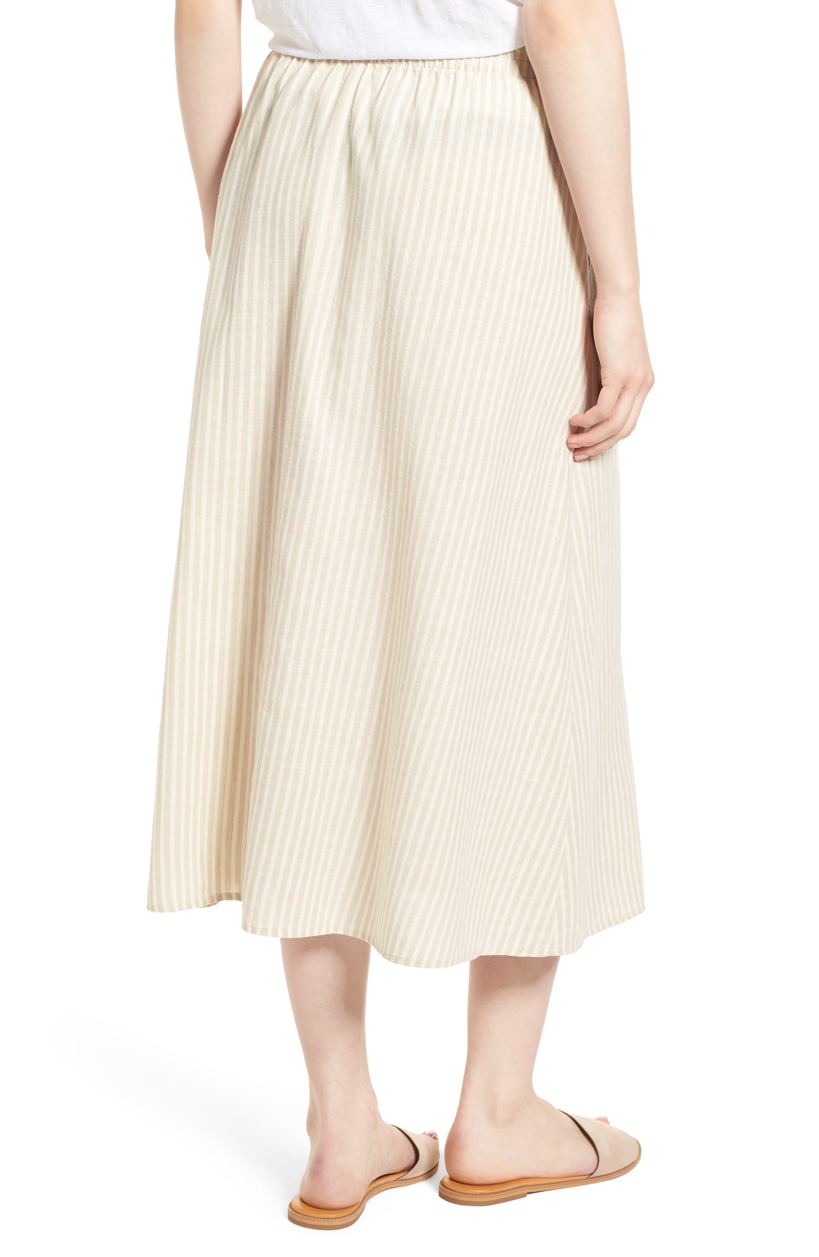 EILEEN FISHER,                             Stripe Hemp & Organic Cotton Midi Skirt,                             Alternate thumbnail 2, color,                             257