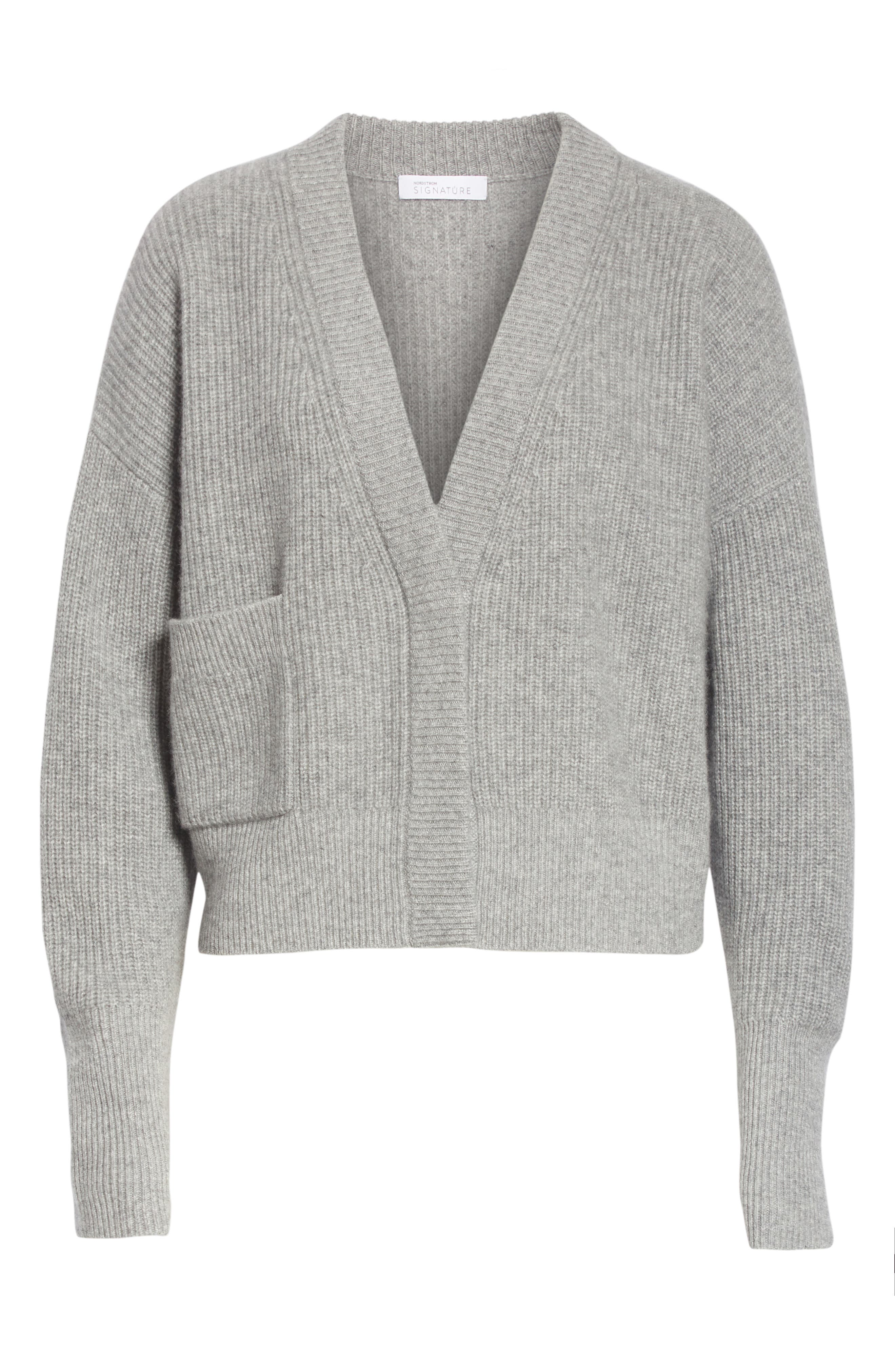 One-Pocket Cashmere Cardigan,                             Alternate thumbnail 6, color,                             030