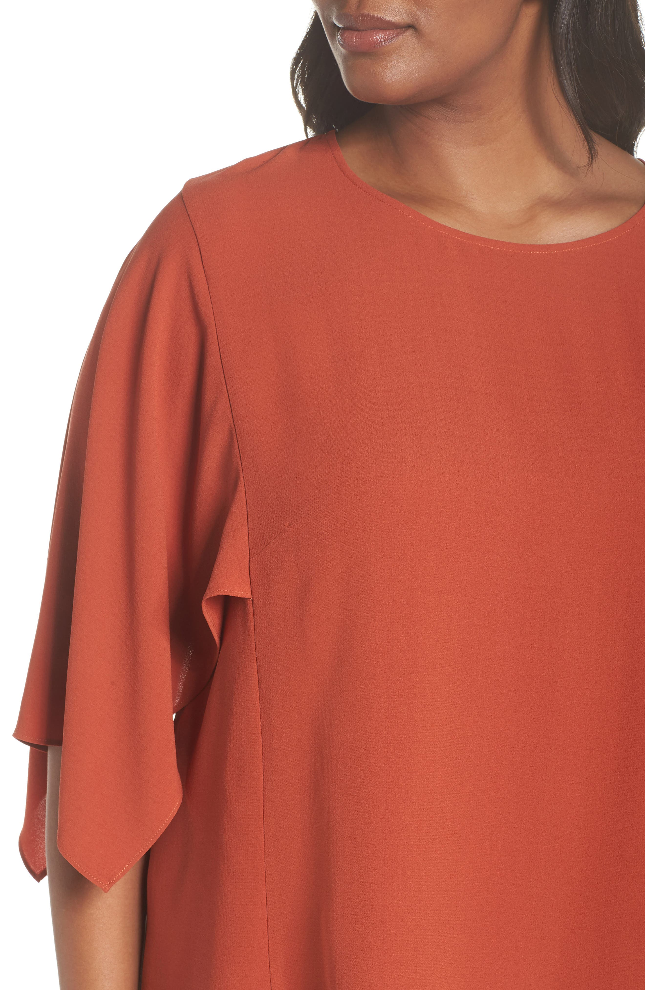Slit Sleeve Silk Top,                             Alternate thumbnail 4, color,                             ORANGE PEKOE