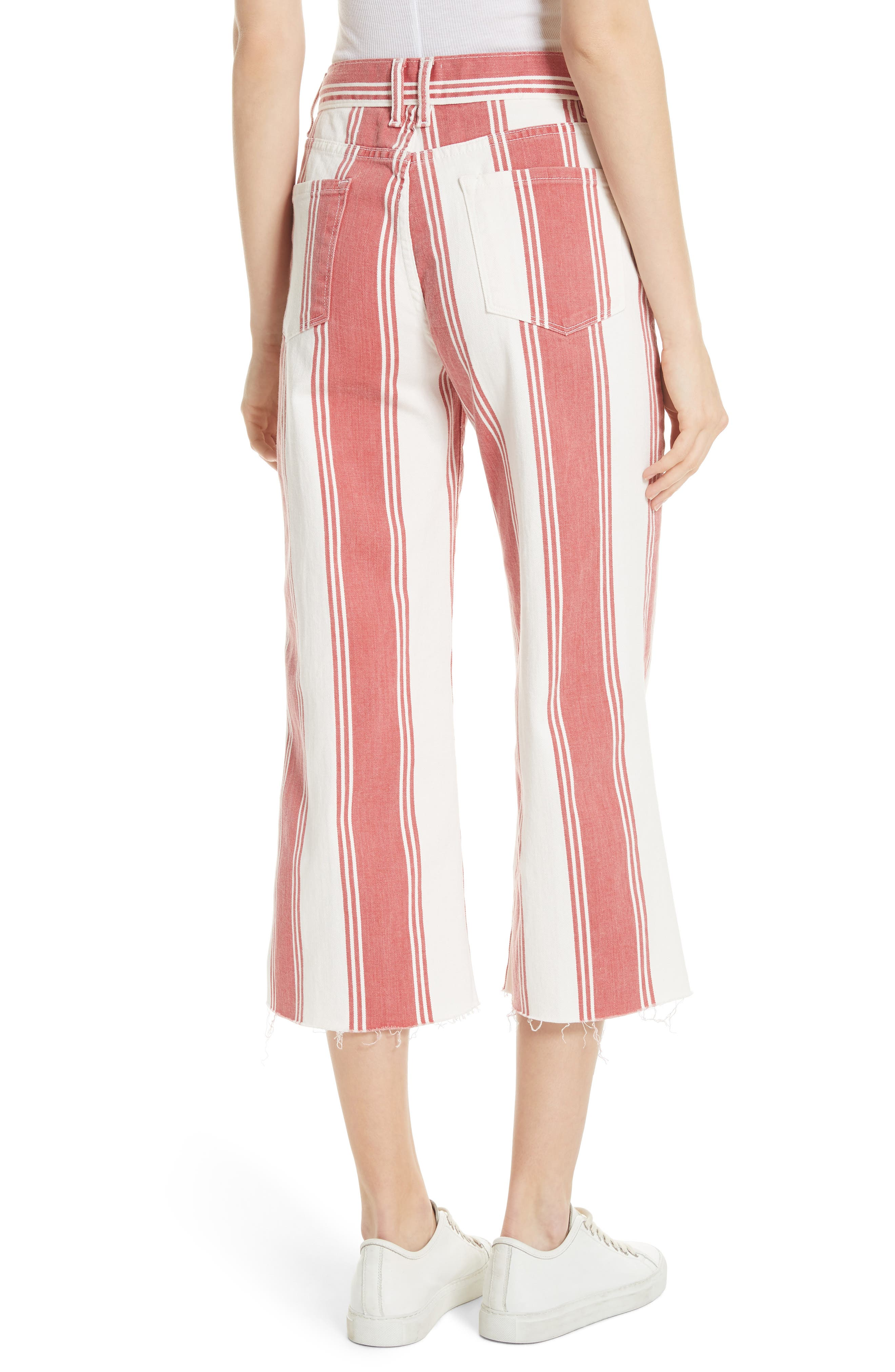 Vintage Stripe Crop Jeans,                             Alternate thumbnail 2, color,                             FIERY STRIPE