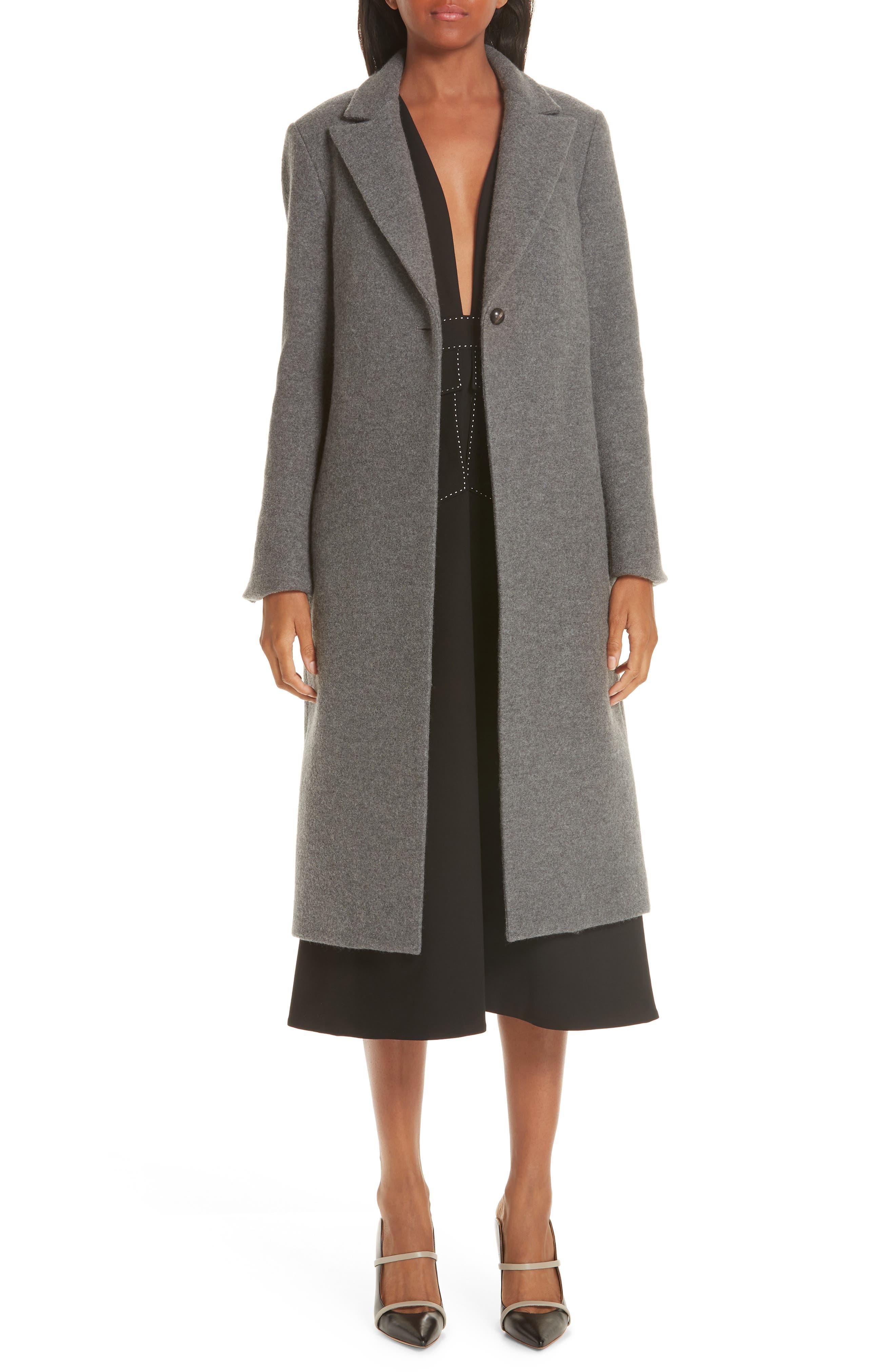 One Button Wool Coat,                             Alternate thumbnail 8, color,                             GREY MELANGE
