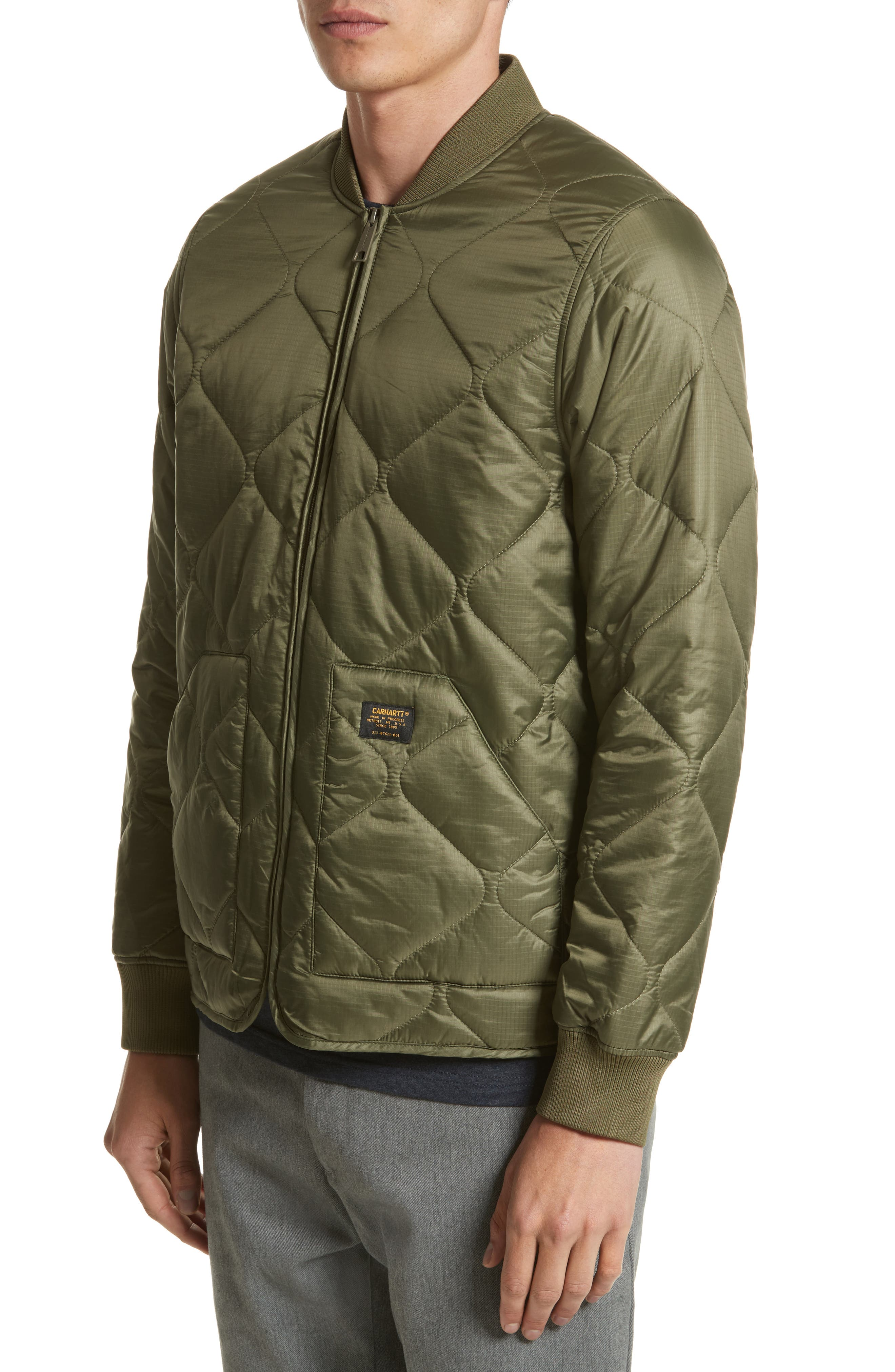 Quilted Ripstop Bomber Jacket,                             Alternate thumbnail 4, color,                             312