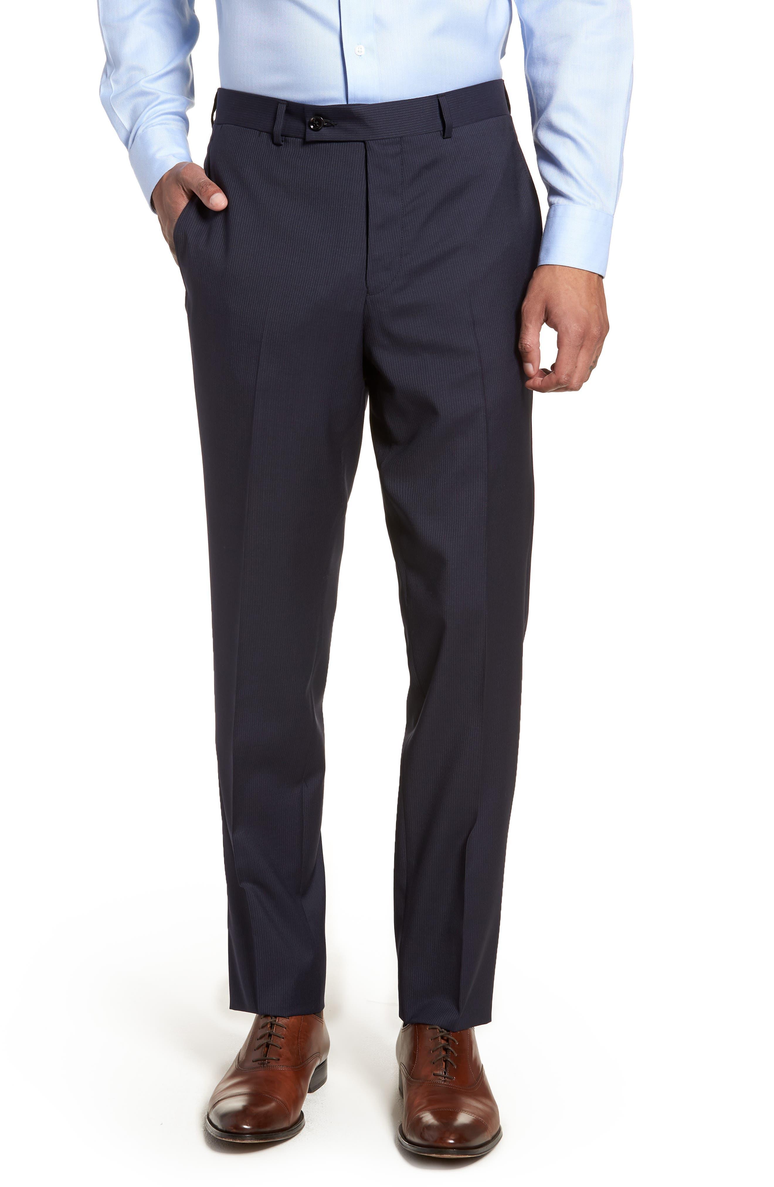 Jay Trim Fit Stripe Wool Suit,                             Alternate thumbnail 7, color,                             NAVY
