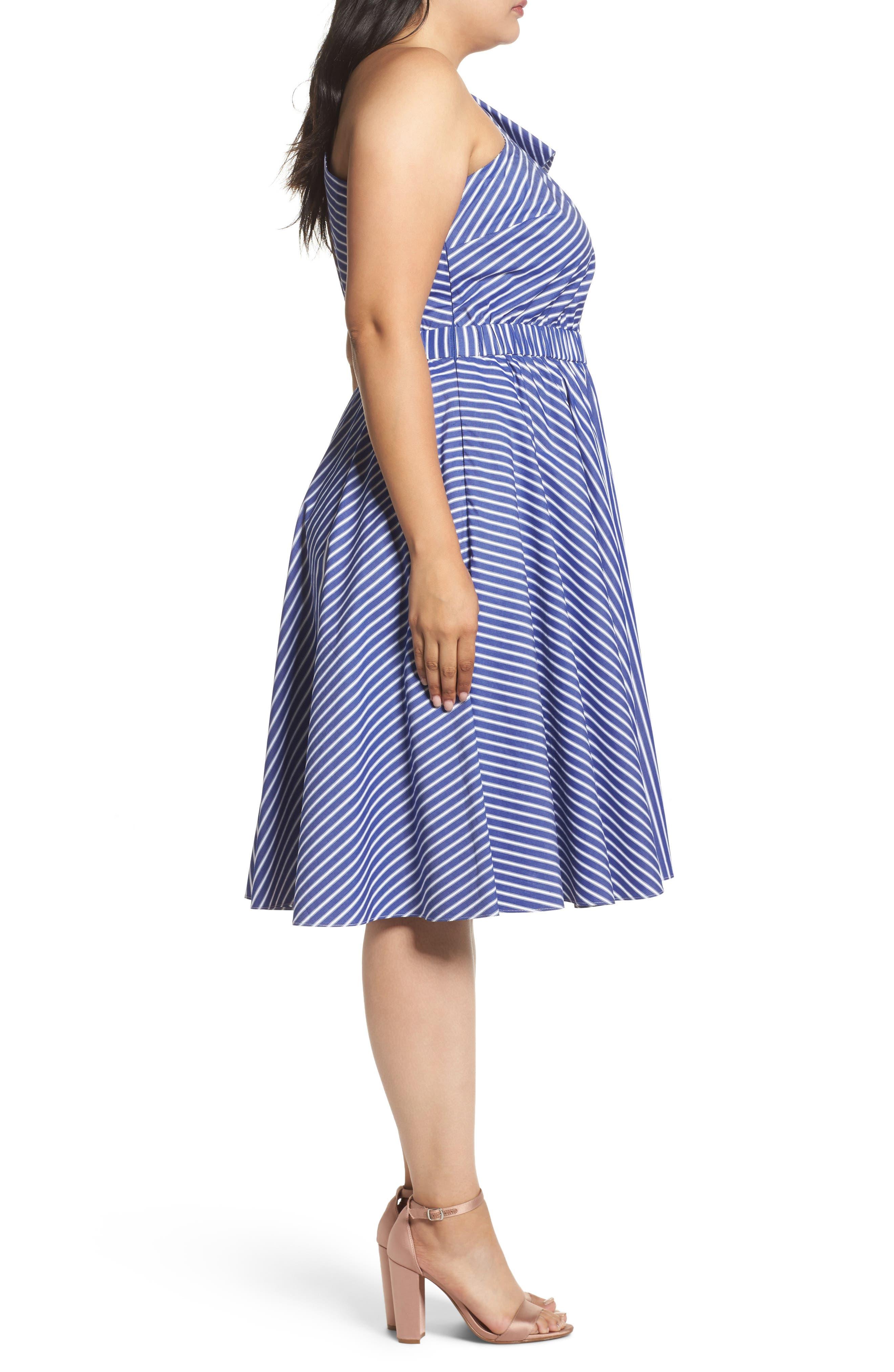 One-Shoulder Fit & Flare Dress,                             Alternate thumbnail 3, color,