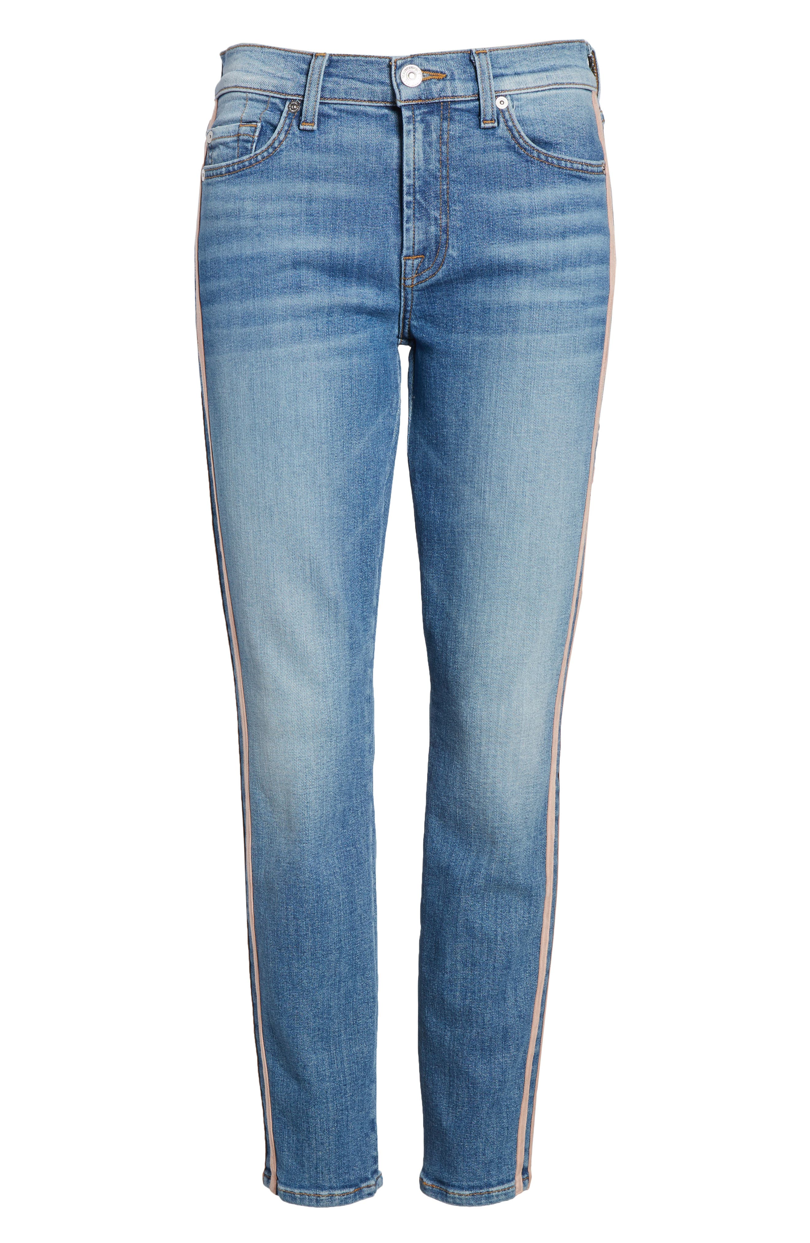 Roxanne Faux Suede Stripe Ankle Skinny Jeans,                             Alternate thumbnail 7, color,                             400