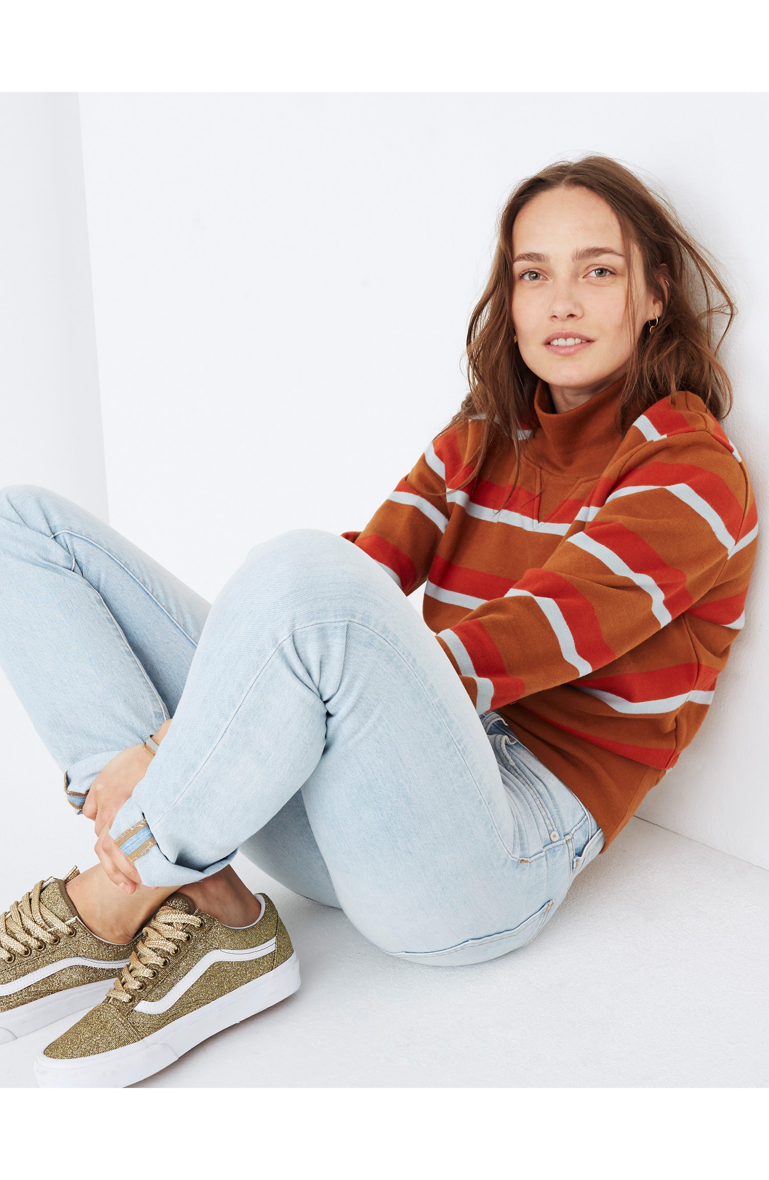 Stripe Turtleneck Sweatshirt,                             Alternate thumbnail 4, color,                             201