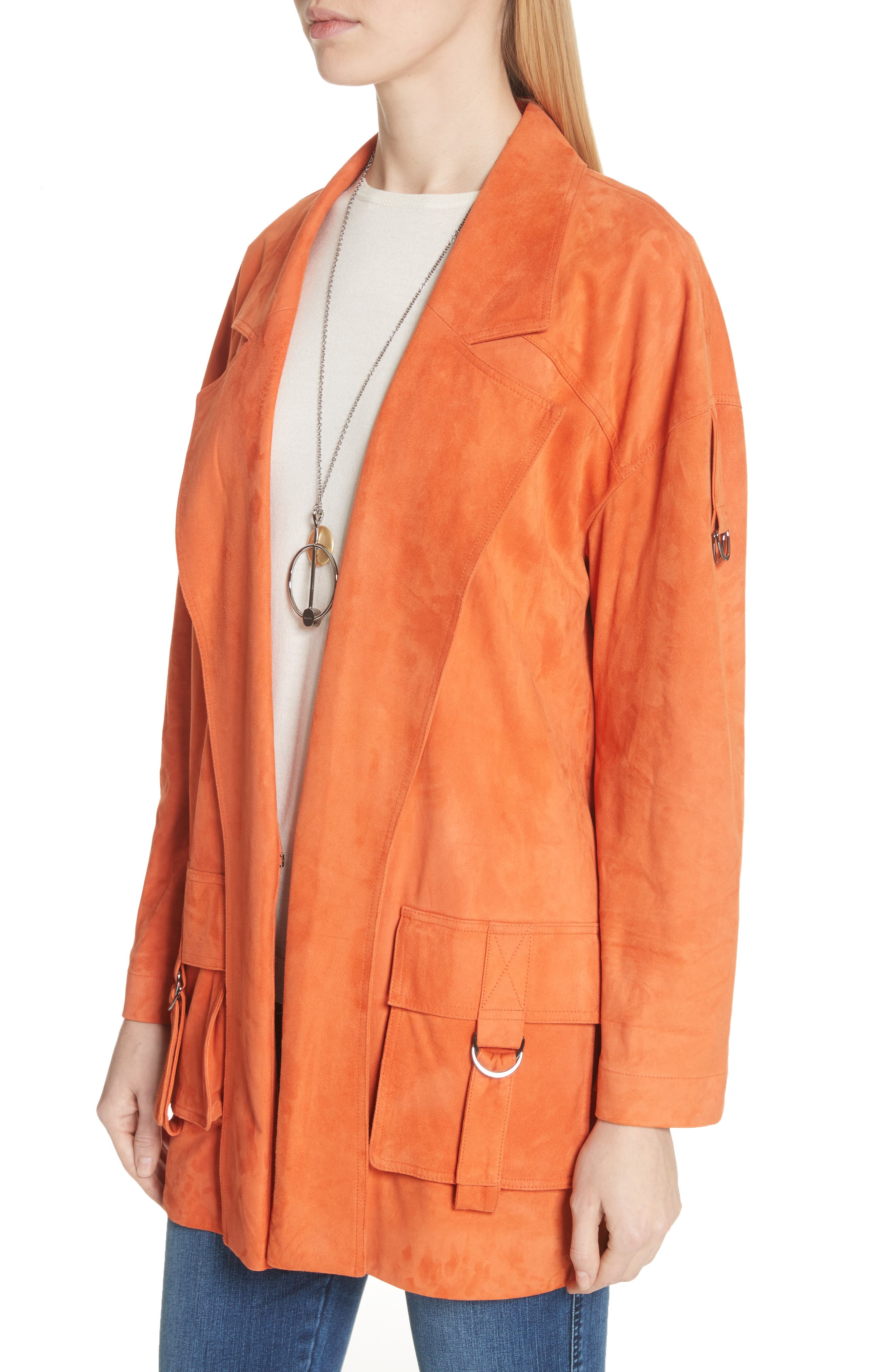 Suede Slouch Jacket,                             Alternate thumbnail 4, color,                             SOFT SIENNA