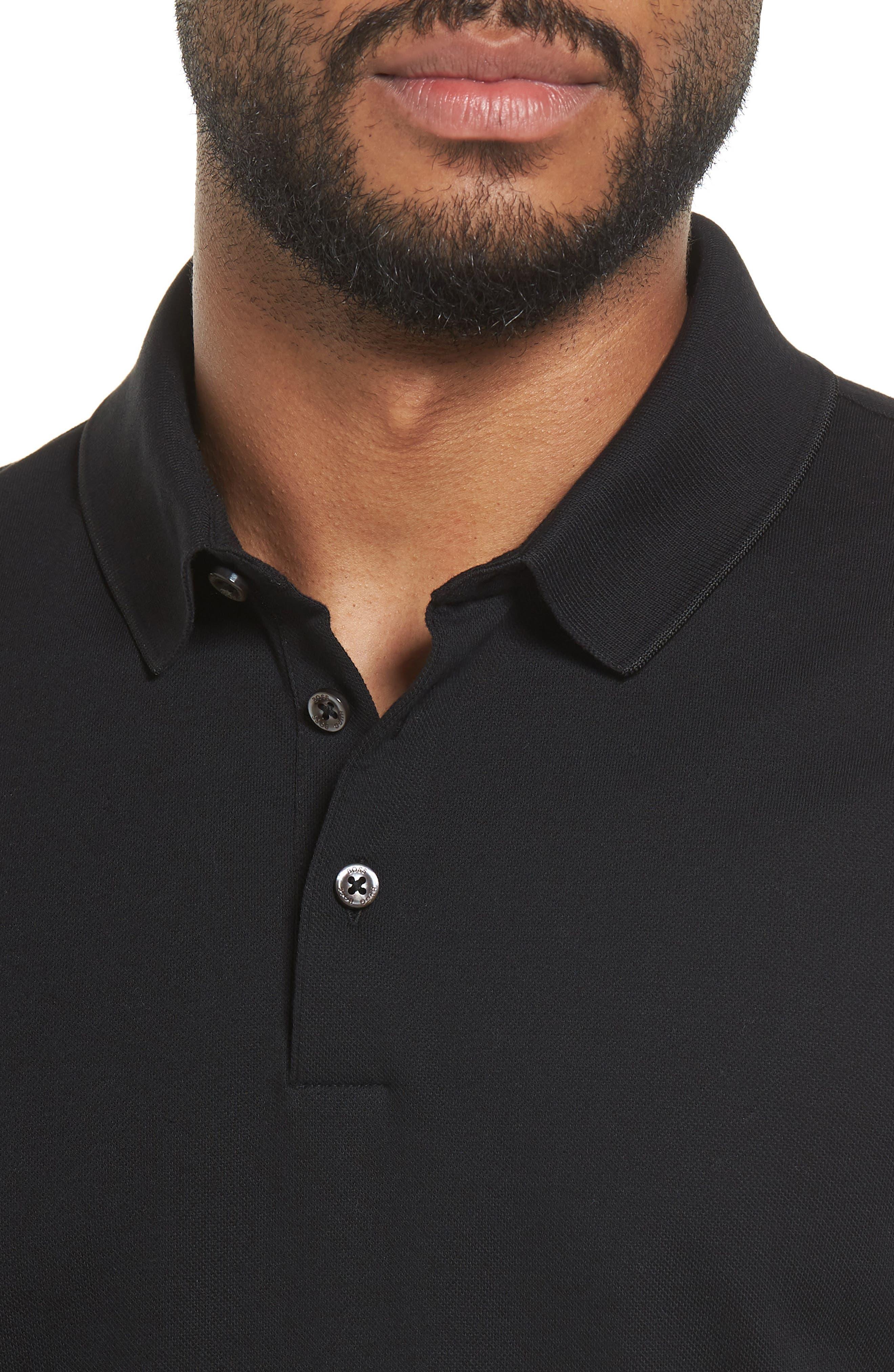 Pleins Slim Fit Long Sleeve Polo,                             Alternate thumbnail 4, color,                             001