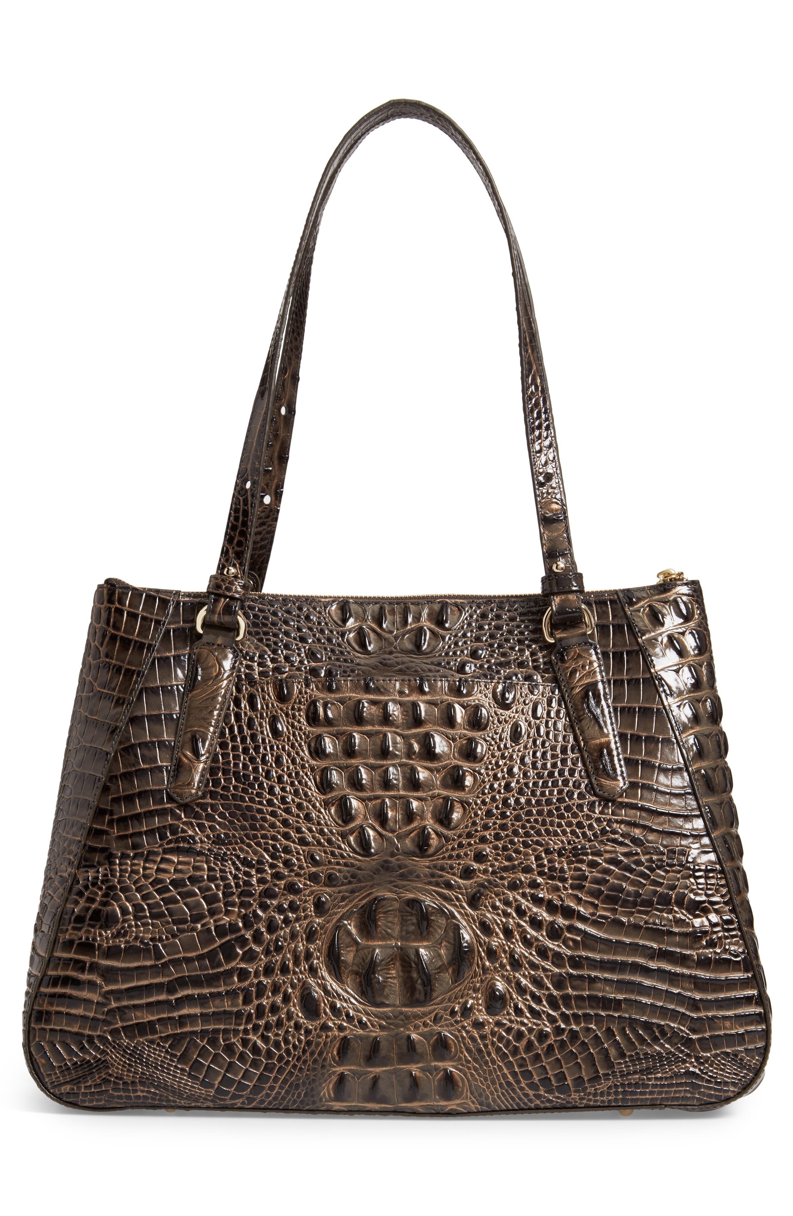 Melbourne - Adina Croc Embossed Leather Satchel,                             Alternate thumbnail 3, color,                             GRAPHITE