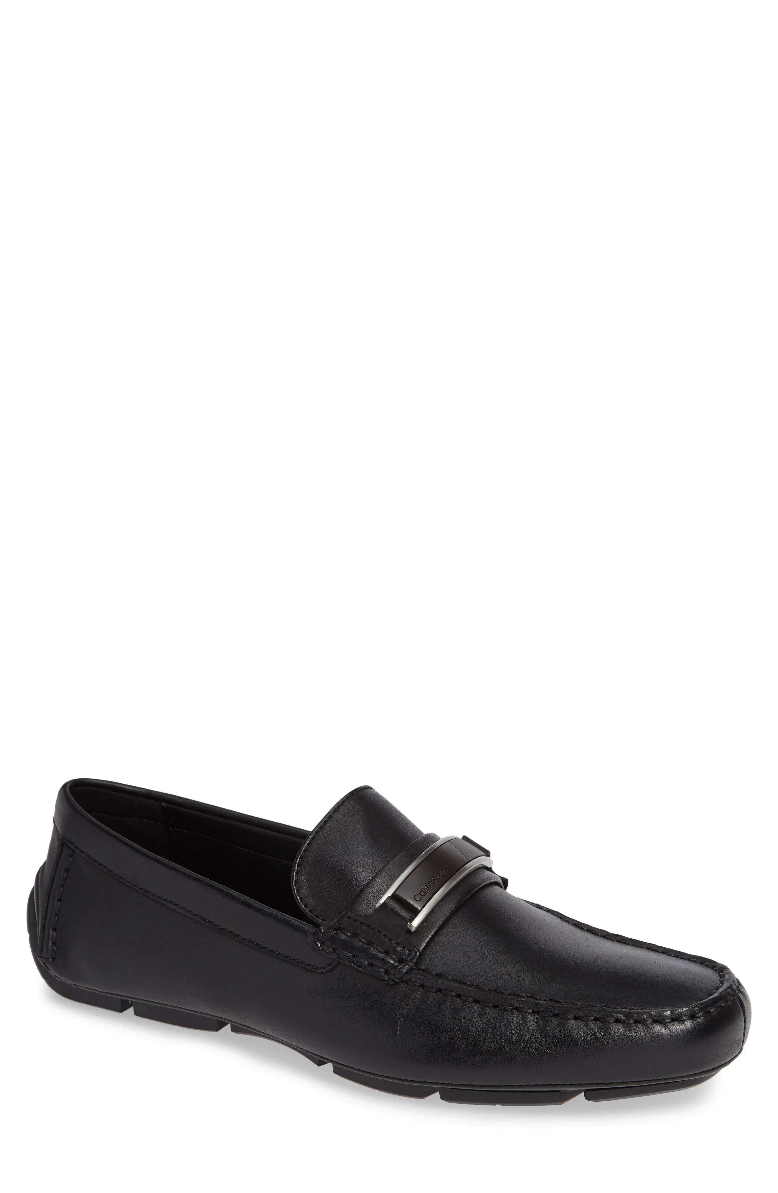 Kadison Buckle Driving Shoe,                         Main,                         color, BLACK LEATHER